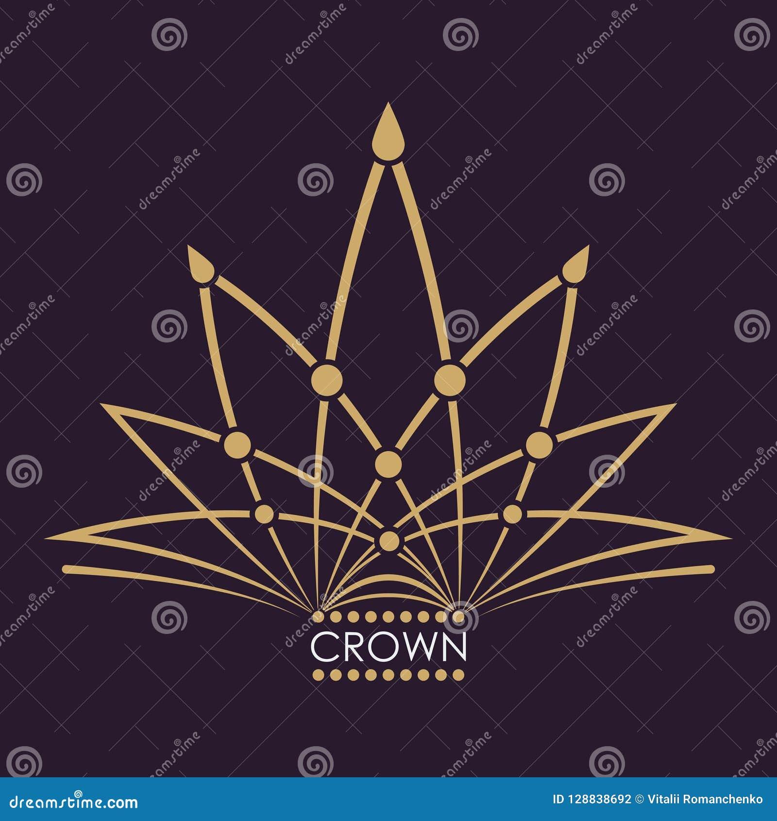 金黄冠传染媒介 线艺术商标设计 力量和财富的葡萄酒皇家标志 创造性的企业标志