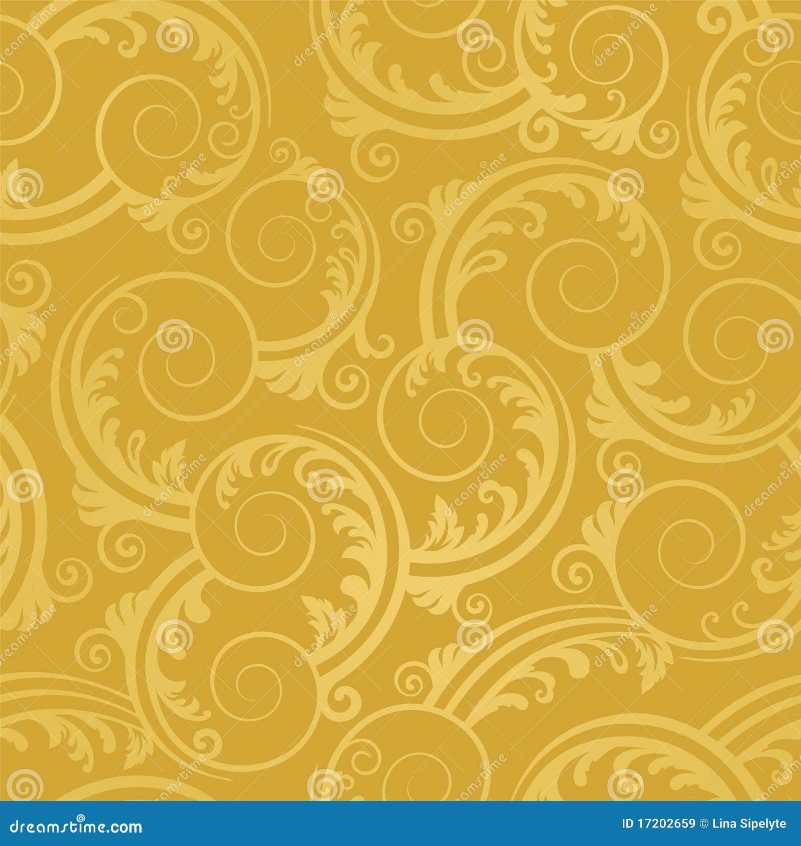 金黄叶子无缝的漩涡墙纸