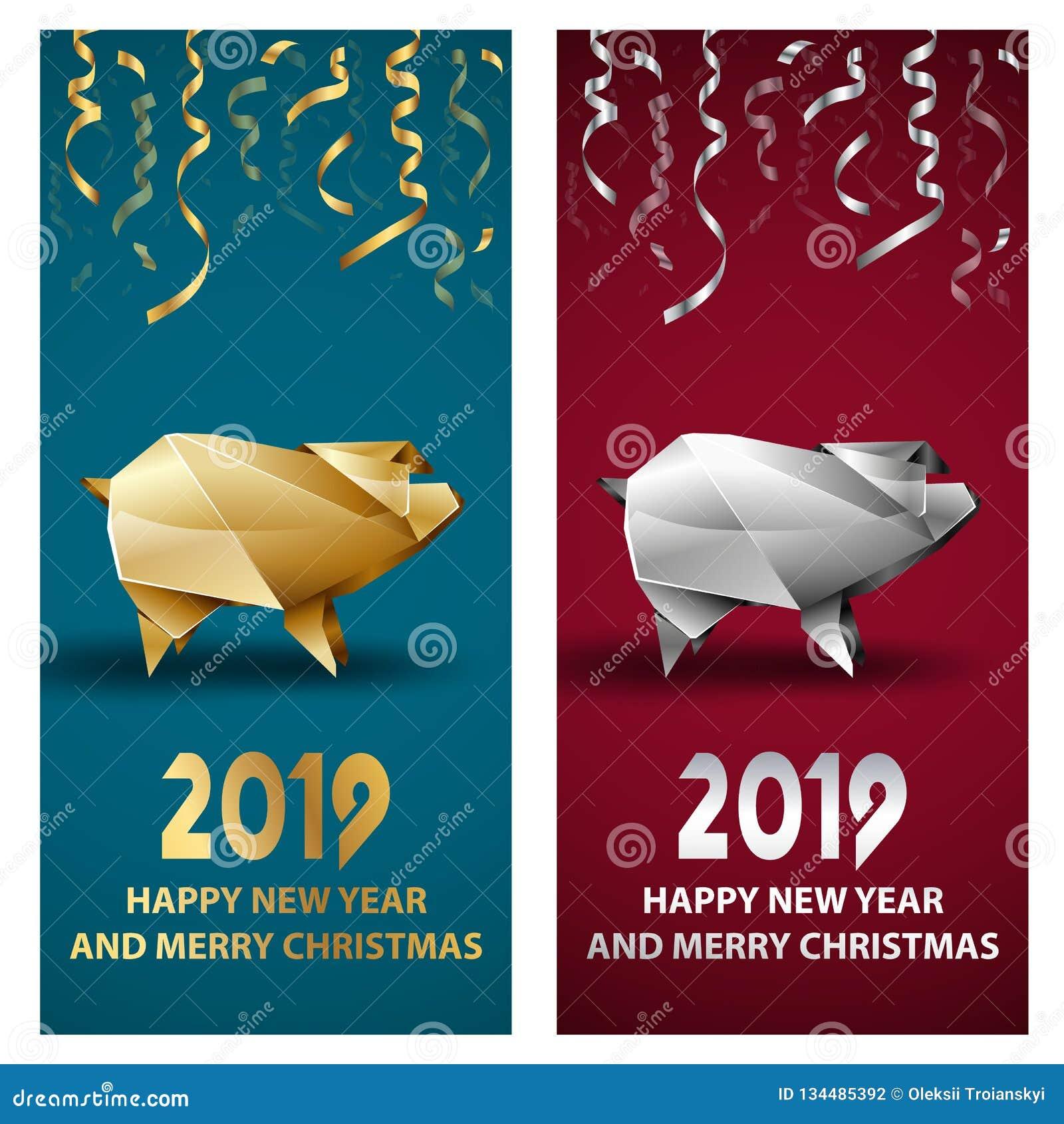 金黄和银色猪作为农历新年的标志2019年