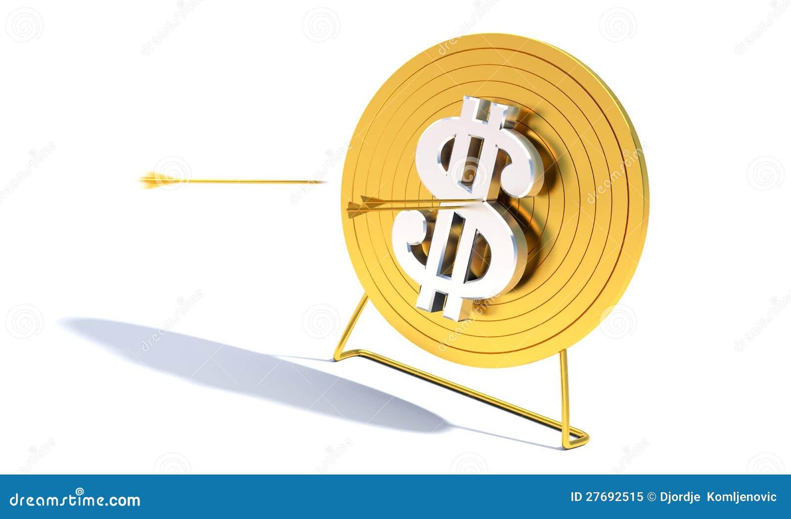 金黄射箭目标美元