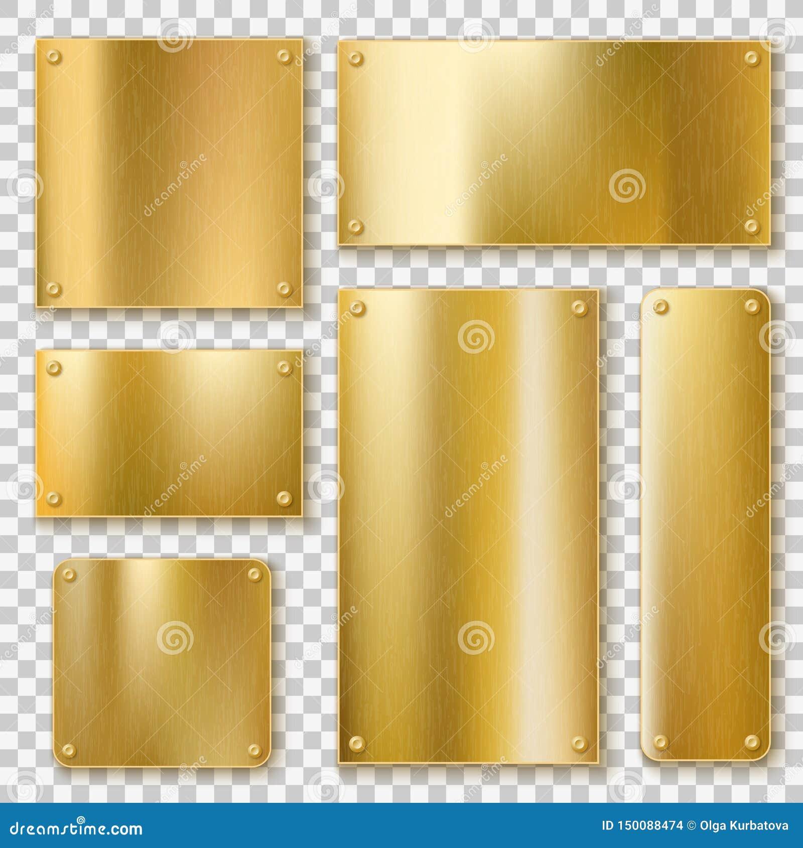 金黄板材 金金属黄色板材,发光的古铜色横幅 与现实的螺丝的优美的织地不很细空白的标签