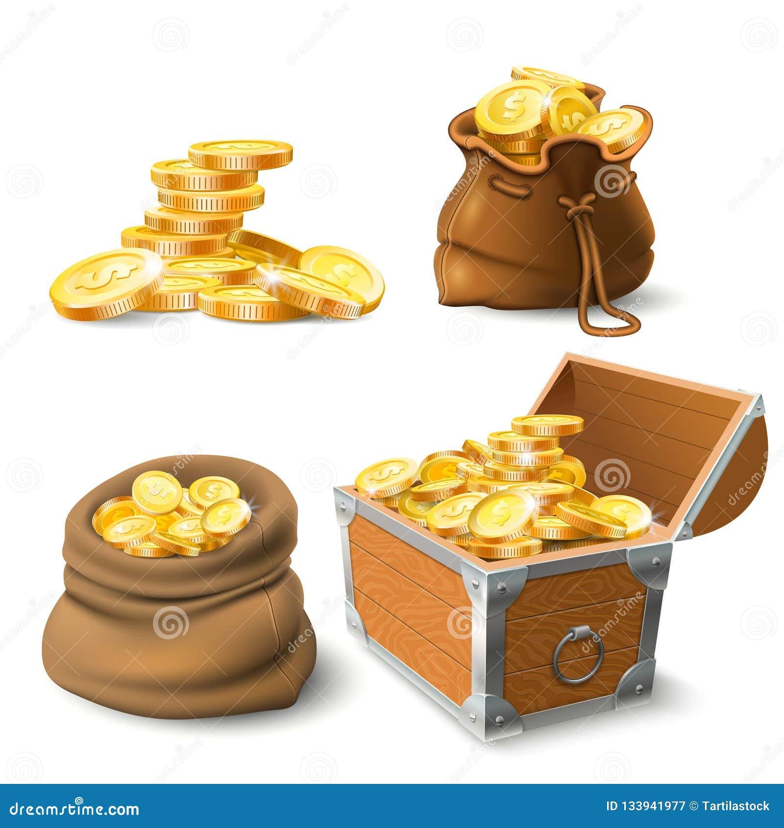 金黄硬币栈 在老大袋、大金堆和胸口的硬币