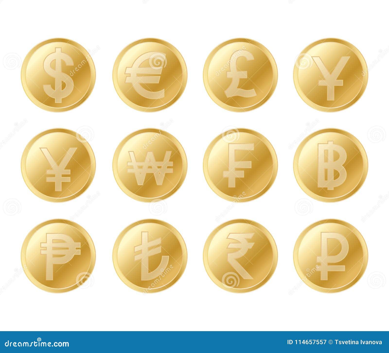 金黄硬币集合 栩栩如生的金币的现实收藏