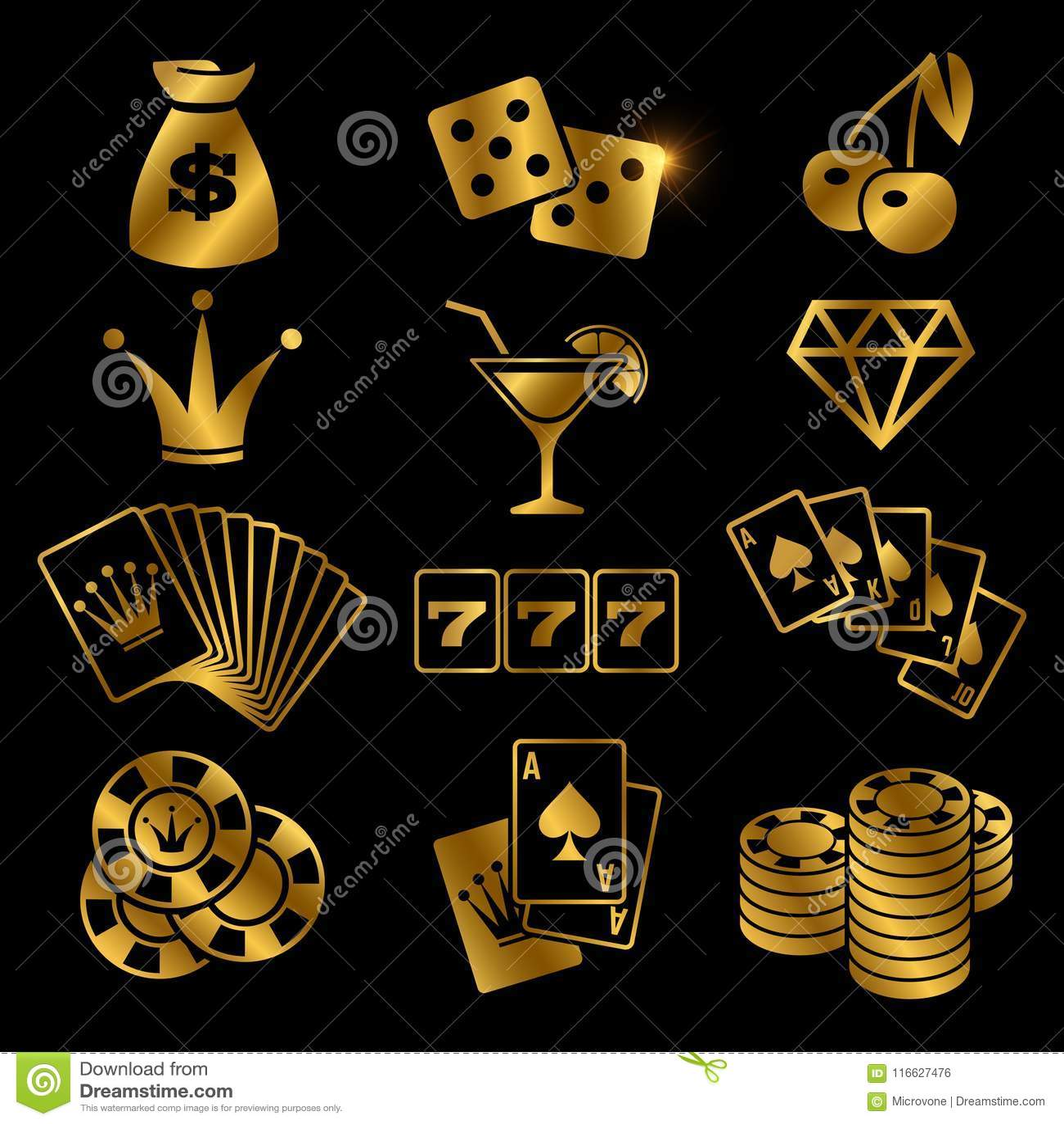 金黄赌博,啤牌打牌,赌博娱乐场,运气在黑背景隔绝的传染媒介象