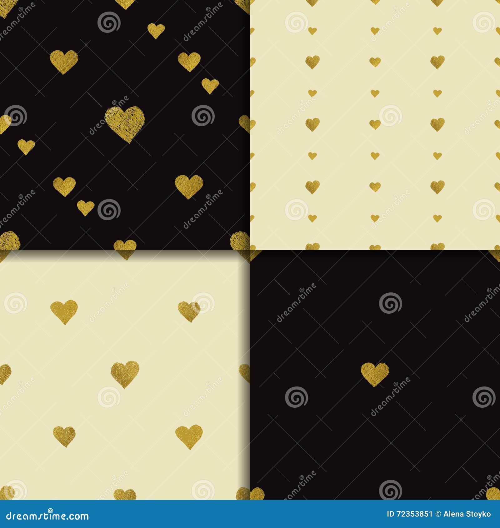 金黄心脏无缝的样式集合