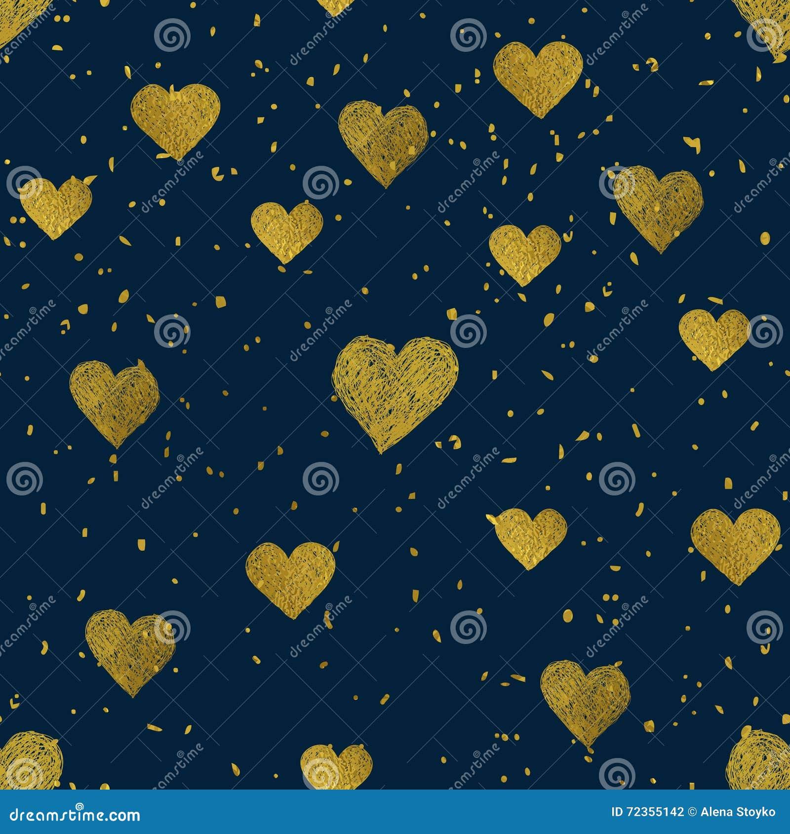 金黄心脏无缝的样式