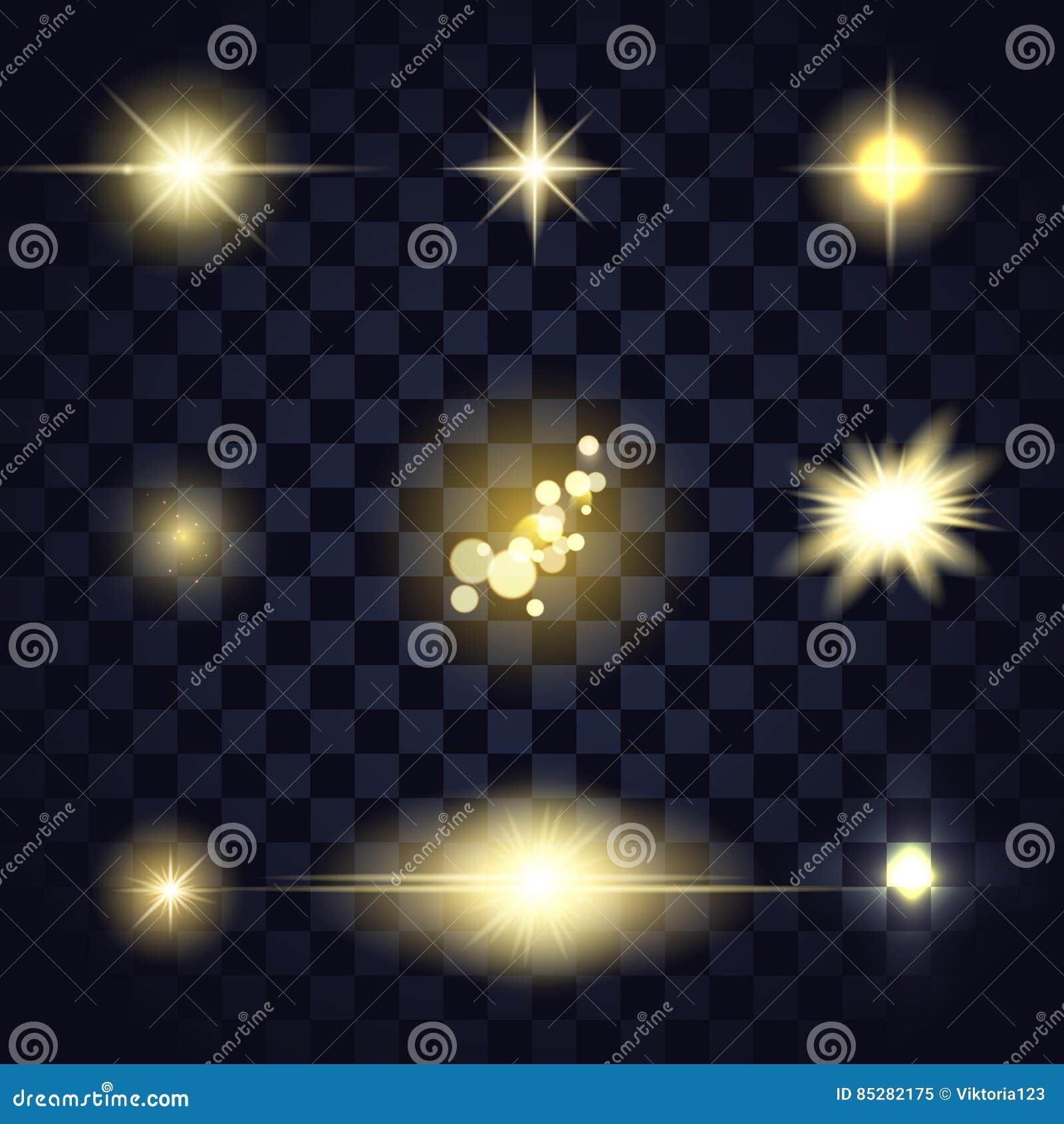 金轻的星透镜火光, bokeh,在透明背景的微粒不同的形状