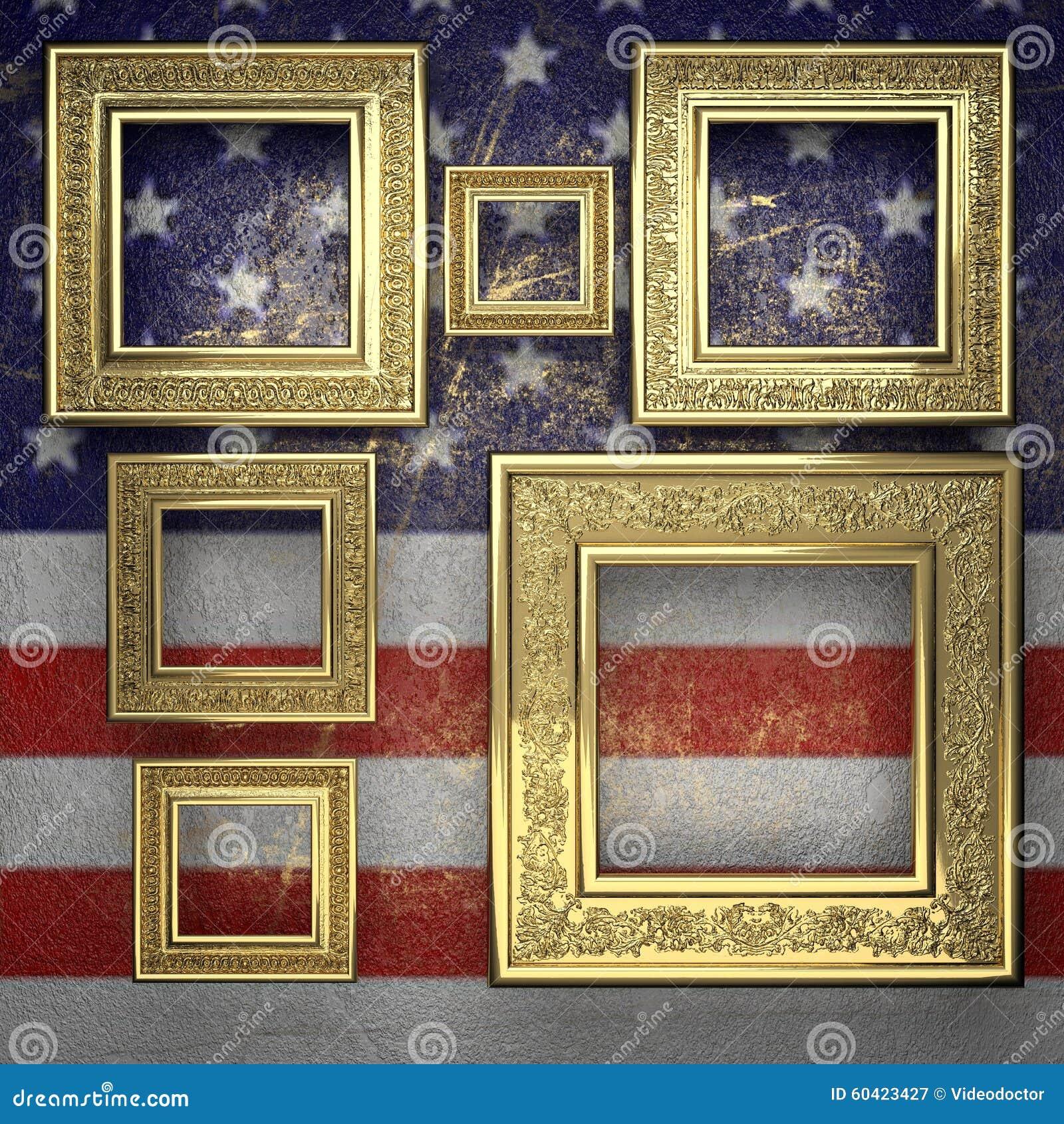 金黄背景被绘对美国旗子