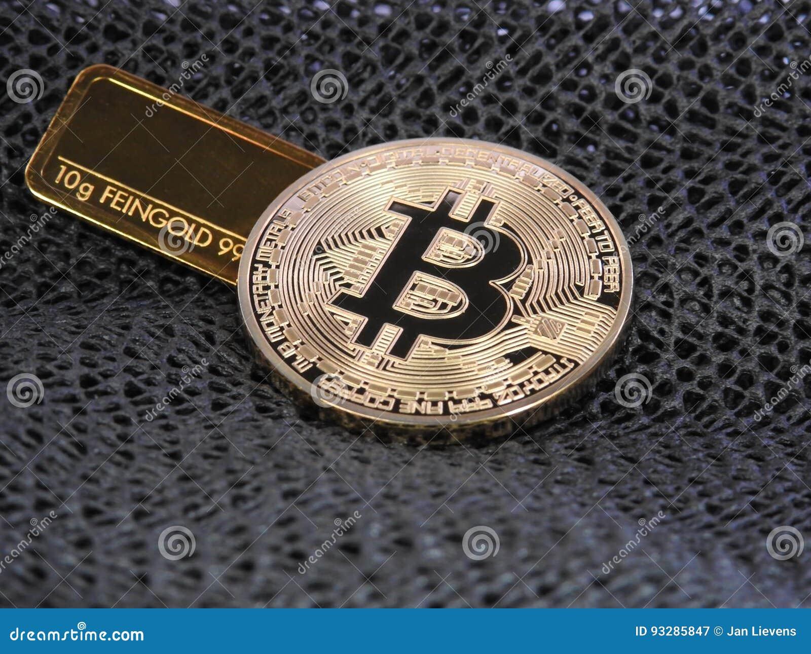 金黄Bitcoin和金制马上的齿龈