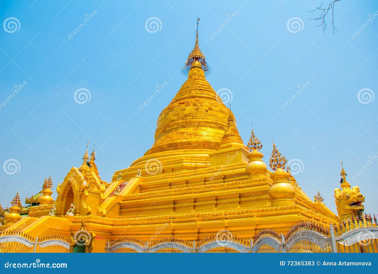 金黄stupa Kuthodaw塔在曼德勒,缅甸 缅甸