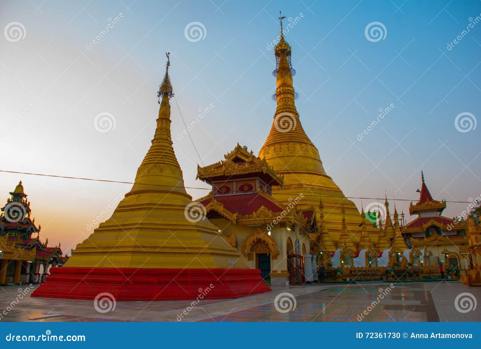 金黄stupa Kyaik Tan Lan 老Moulmein塔 毛淡棉,缅甸 缅甸