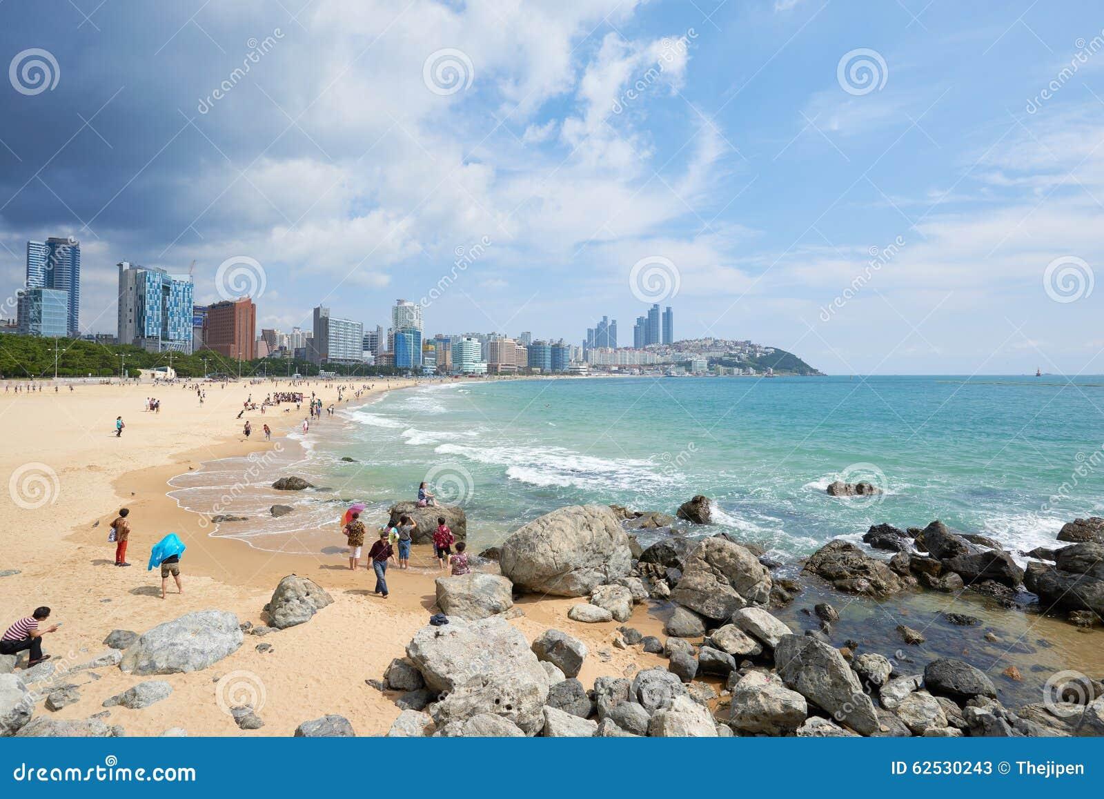 釜山,韩国- 2015年9月19日:Haeundae海滩风景