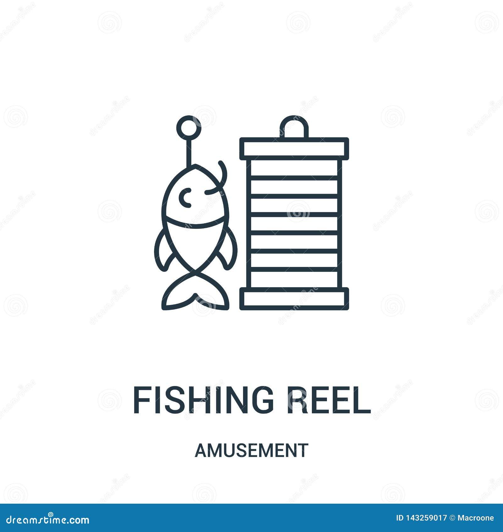 钓鱼卷轴从娱乐汇集的象传染媒介 钓鱼卷轴概述象传染媒介例证的稀薄的线