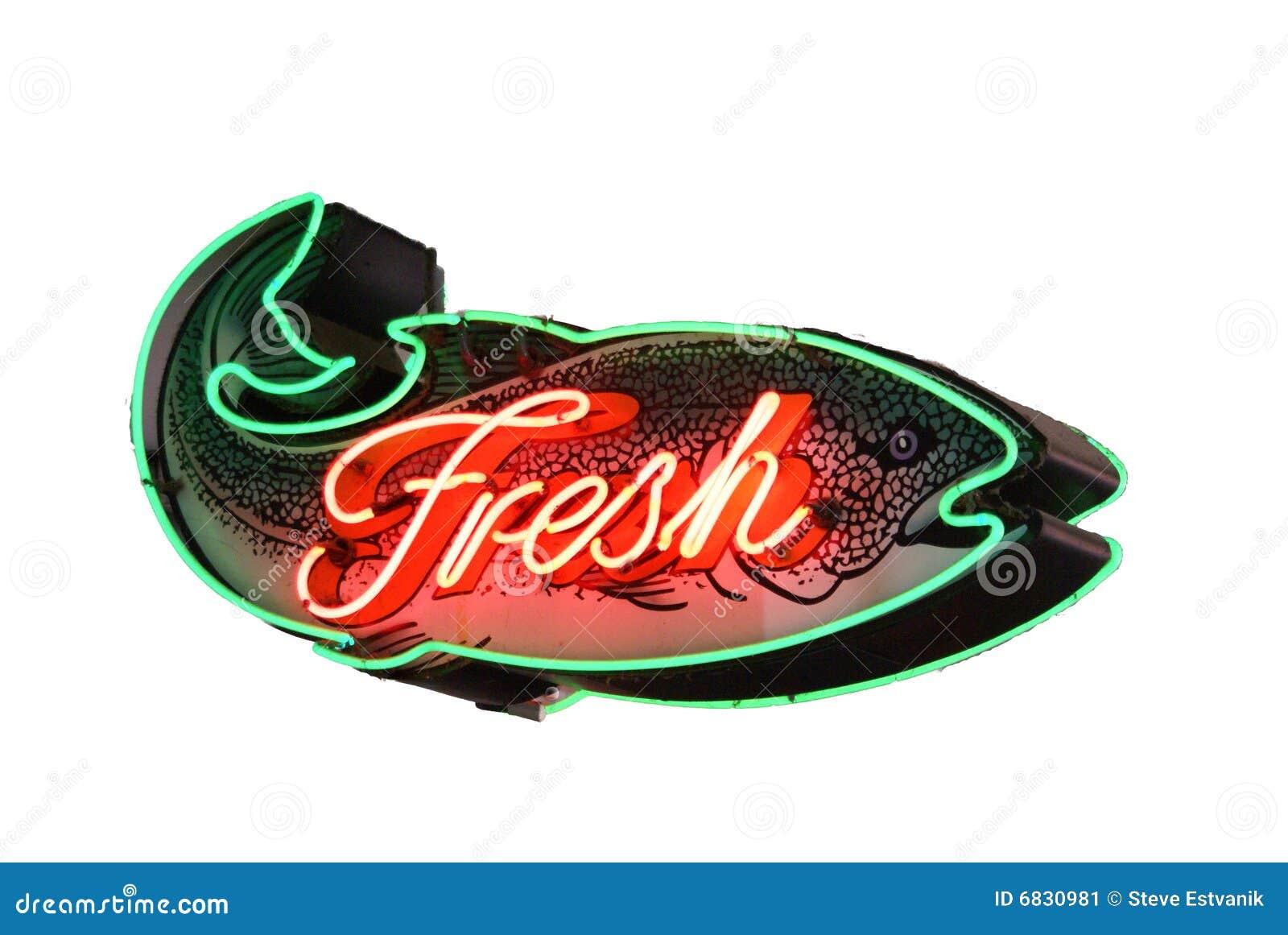 钓鱼新霓虹灯广告