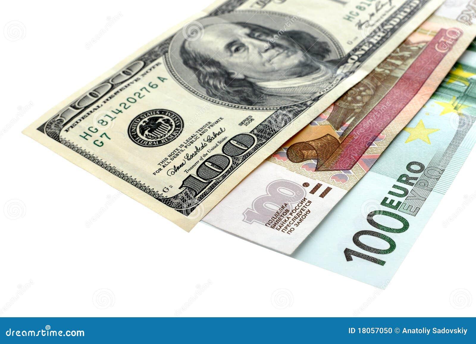 背景钞票美元欧元一百卢布白色.图片
