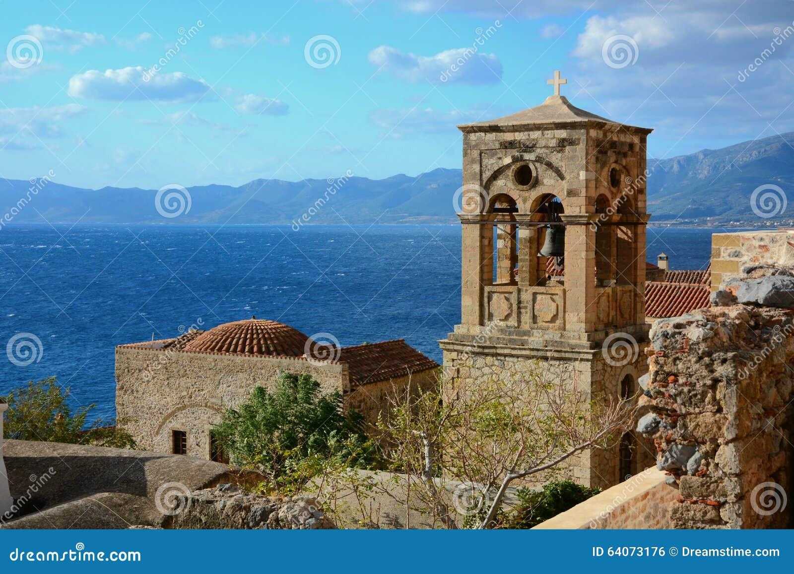 钟楼在莫奈姆瓦夏,希腊