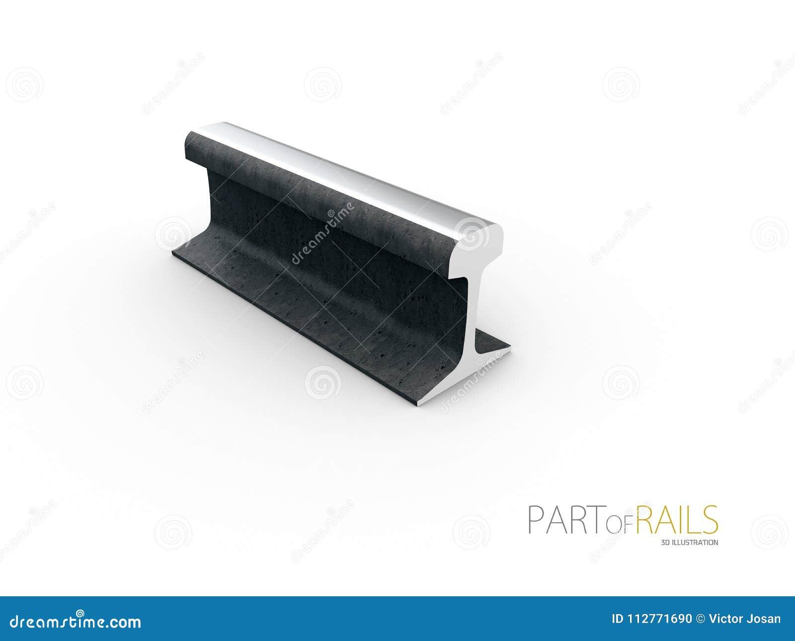 钢火车铁路轨道外形标志3d例证
