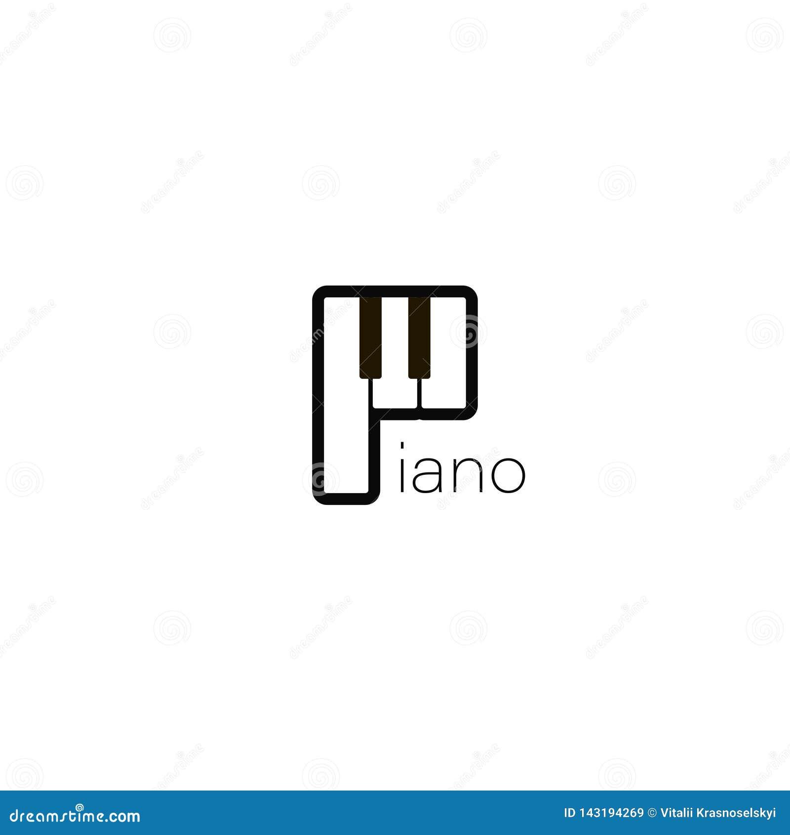 钢琴商标 音乐设计例证 在平的样式的钢琴象 在白色背景的钢琴乐器