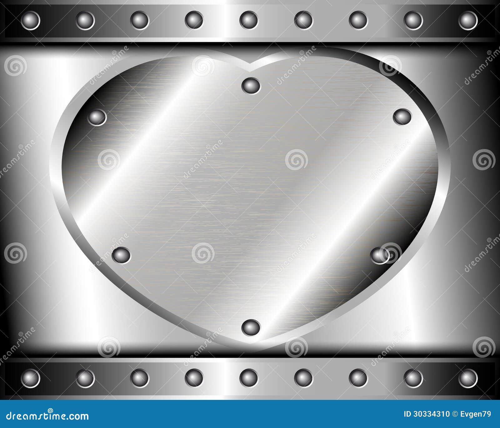 钢的心脏在金属背景的