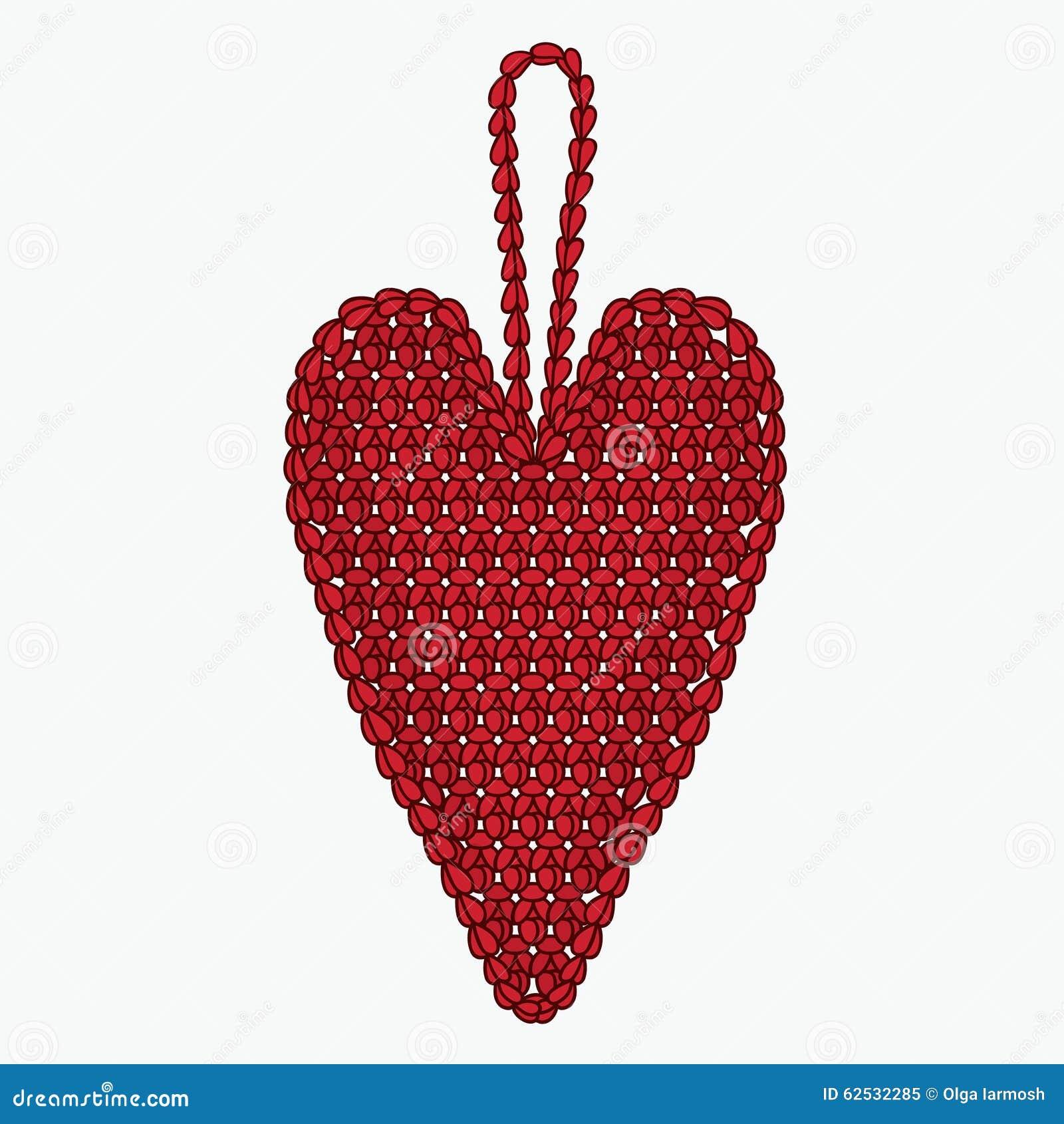 钩针编织心脏 圣诞树玩具