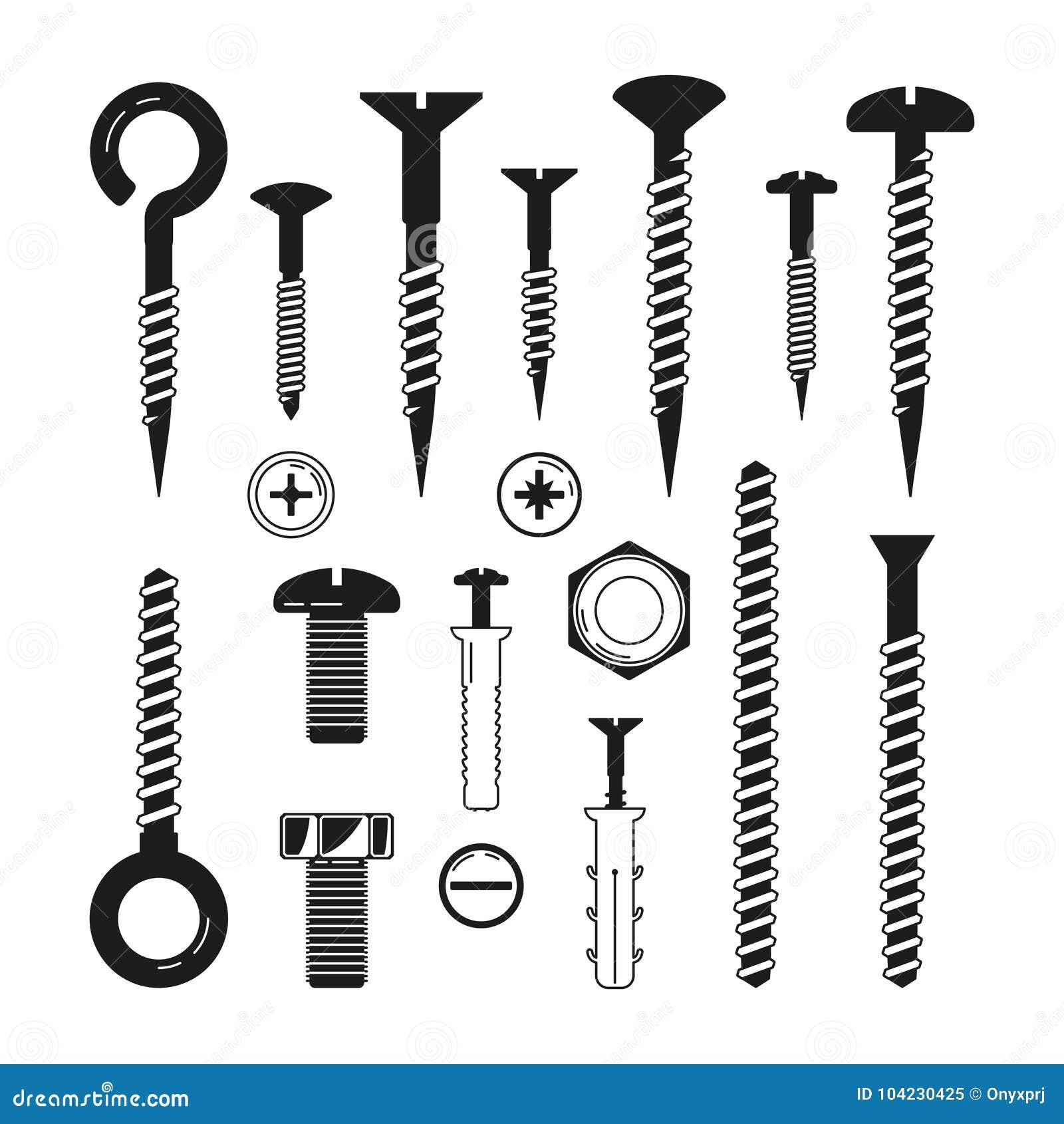 铁螺栓、坚果,螺丝和其他的单色例证硬件工具