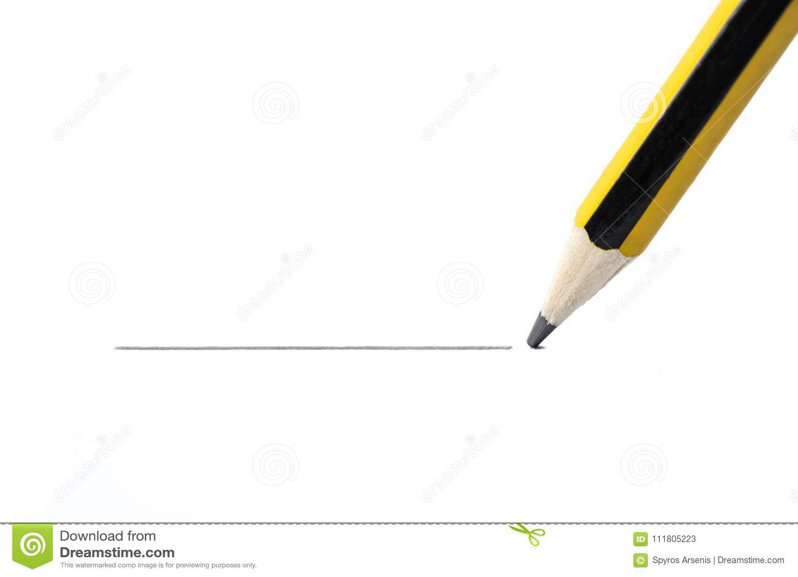 铅笔图一条直线,隔绝在白色背景