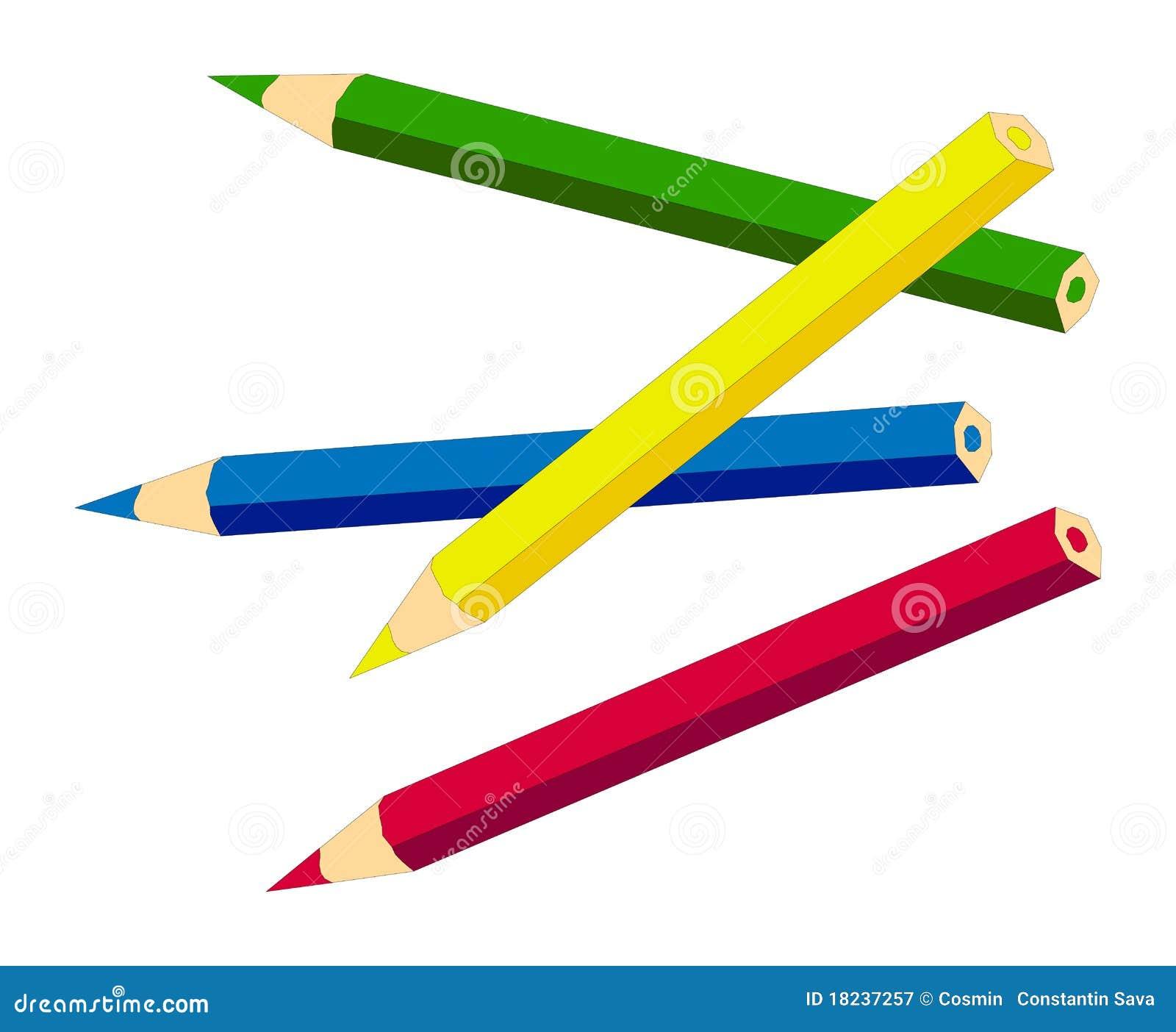在铅笔白色的彩色插图.图片