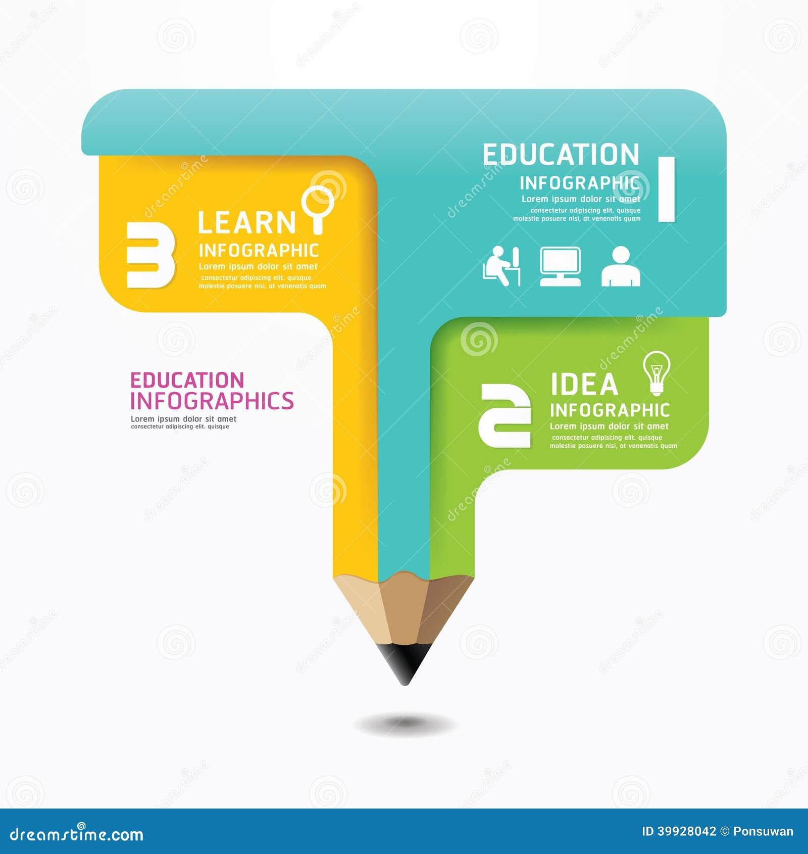 铅笔Infographic设计最小的样式模板。