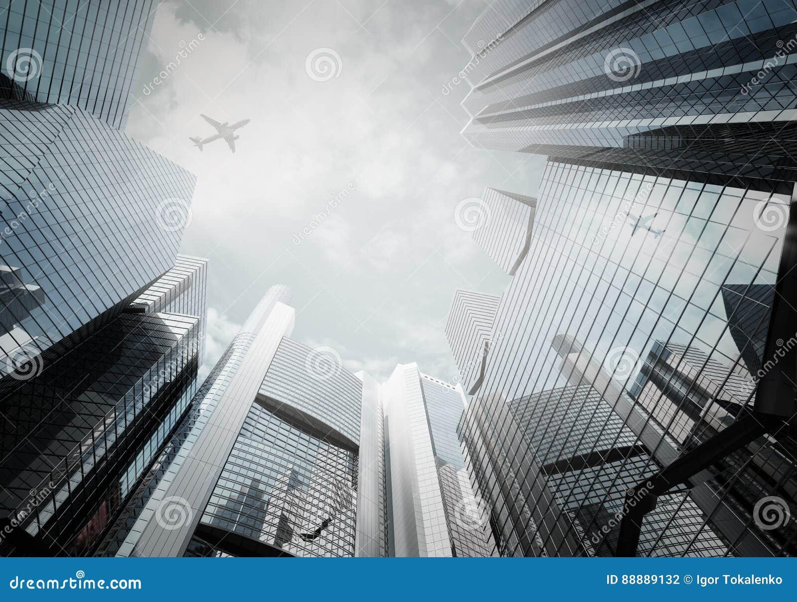 铈的全景都市风景现代高层建筑物全景