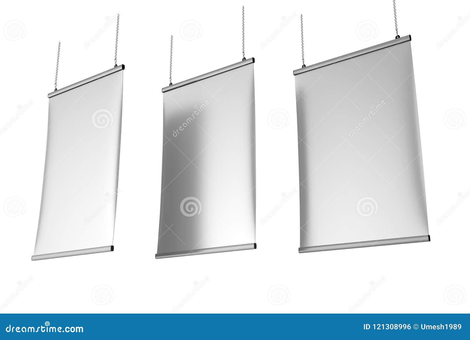 铝短冷期夹子天花板横幅海报挂衣架,垂悬的海报用栏杆围海报挂衣架 3d例证回报