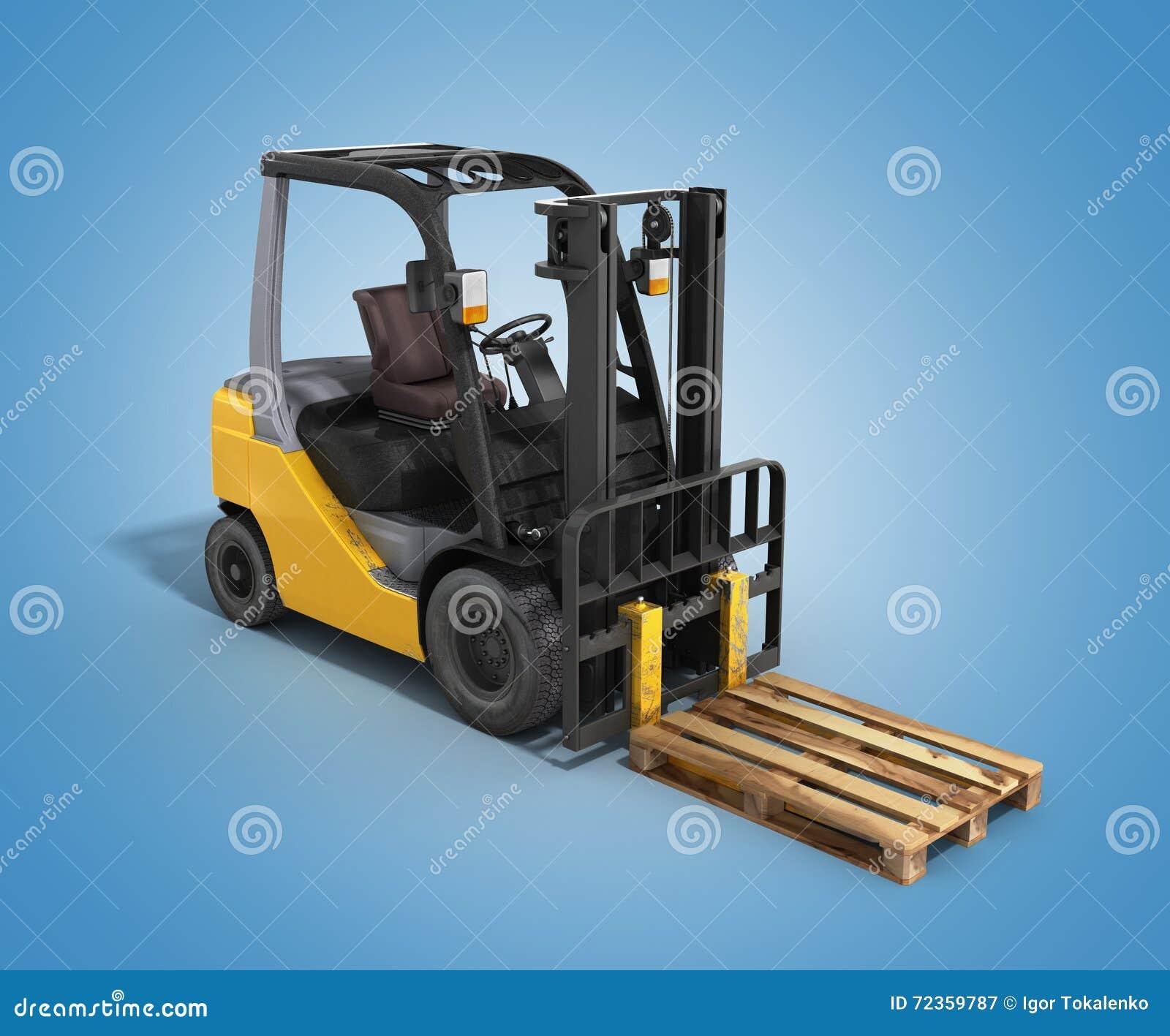 铲车装载者在梯度3D的whith板台回报