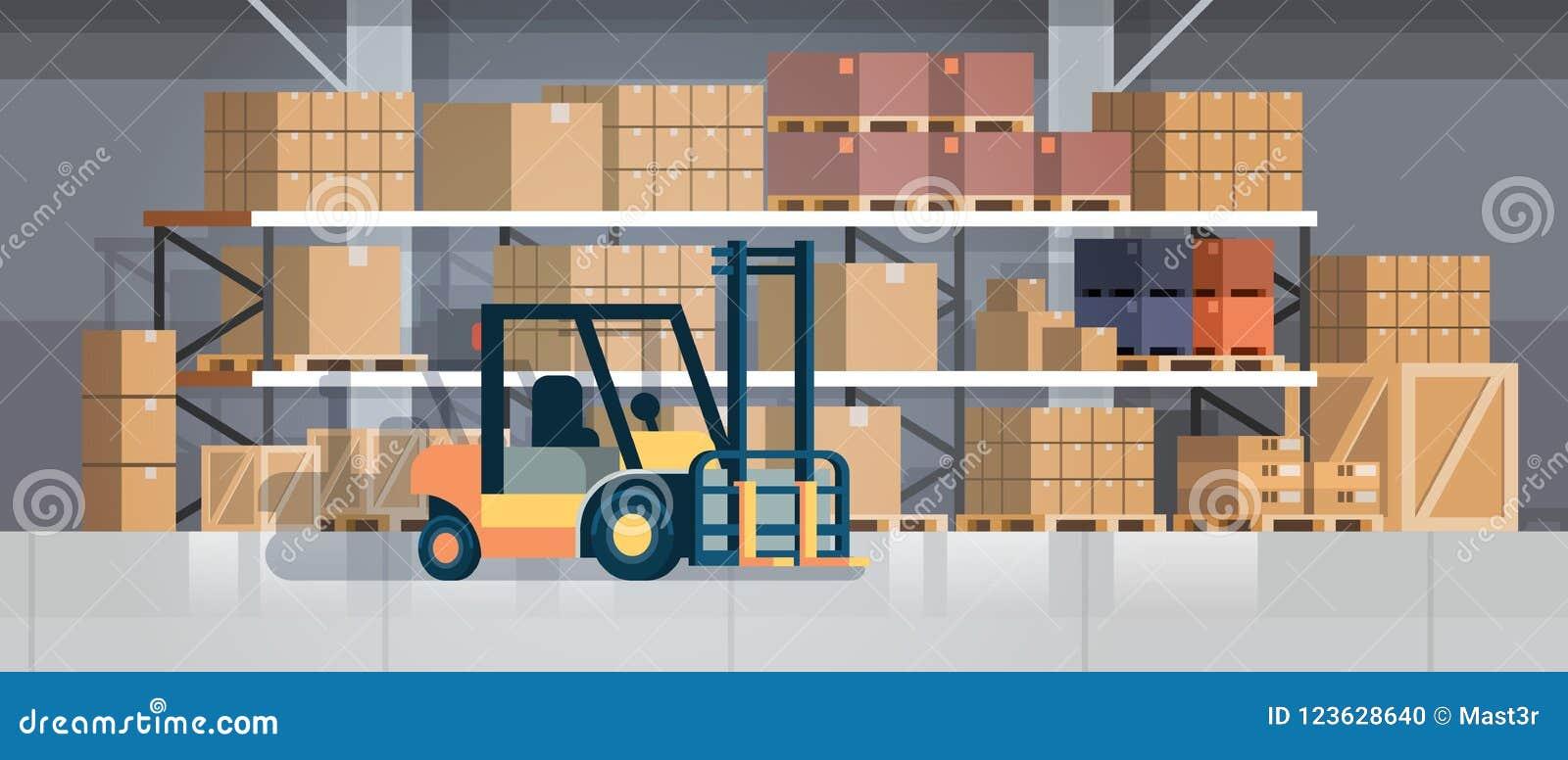 铲车装载者板台堆货机卡车设备仓库内部背景机架箱子国际交付概念