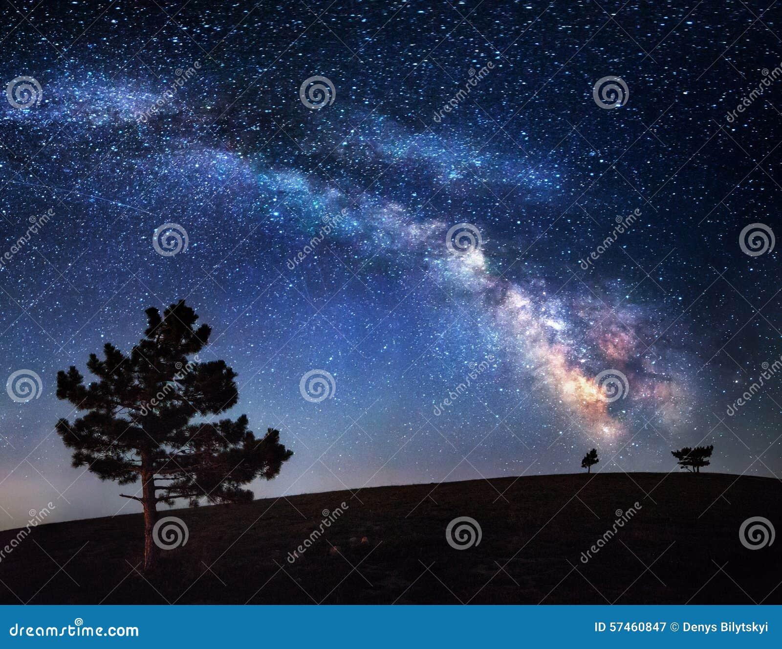 银河 与星的美丽的夏夜天空在克里米亚
