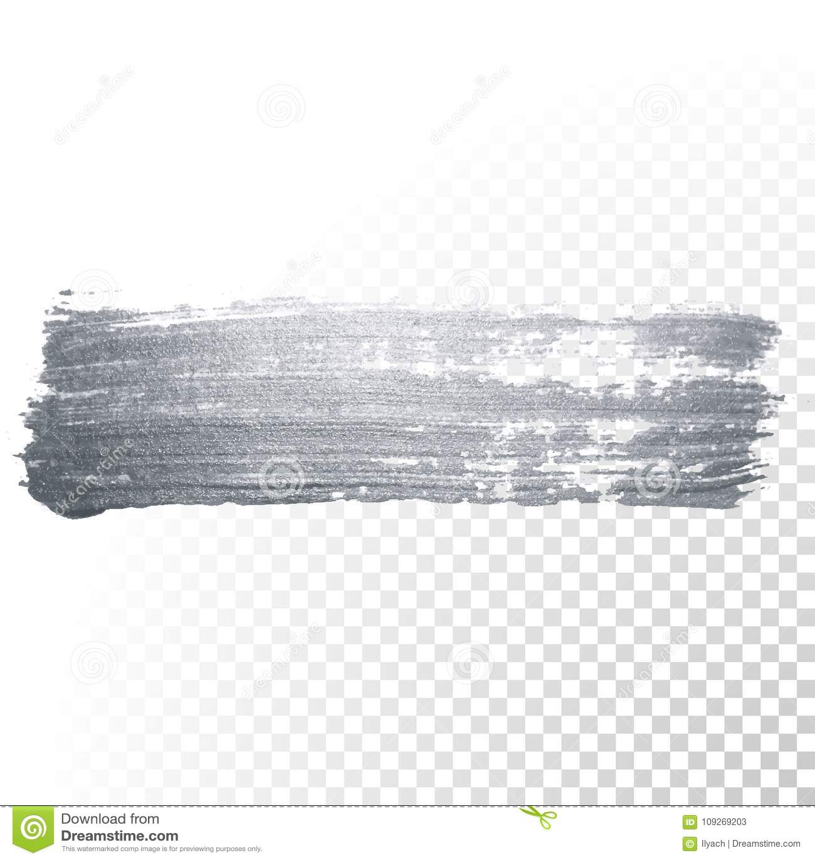 银色与闪烁纹理的画笔污点或污点冲程和抽象油漆刷闪烁的墨水轻拍污迹在透明bac