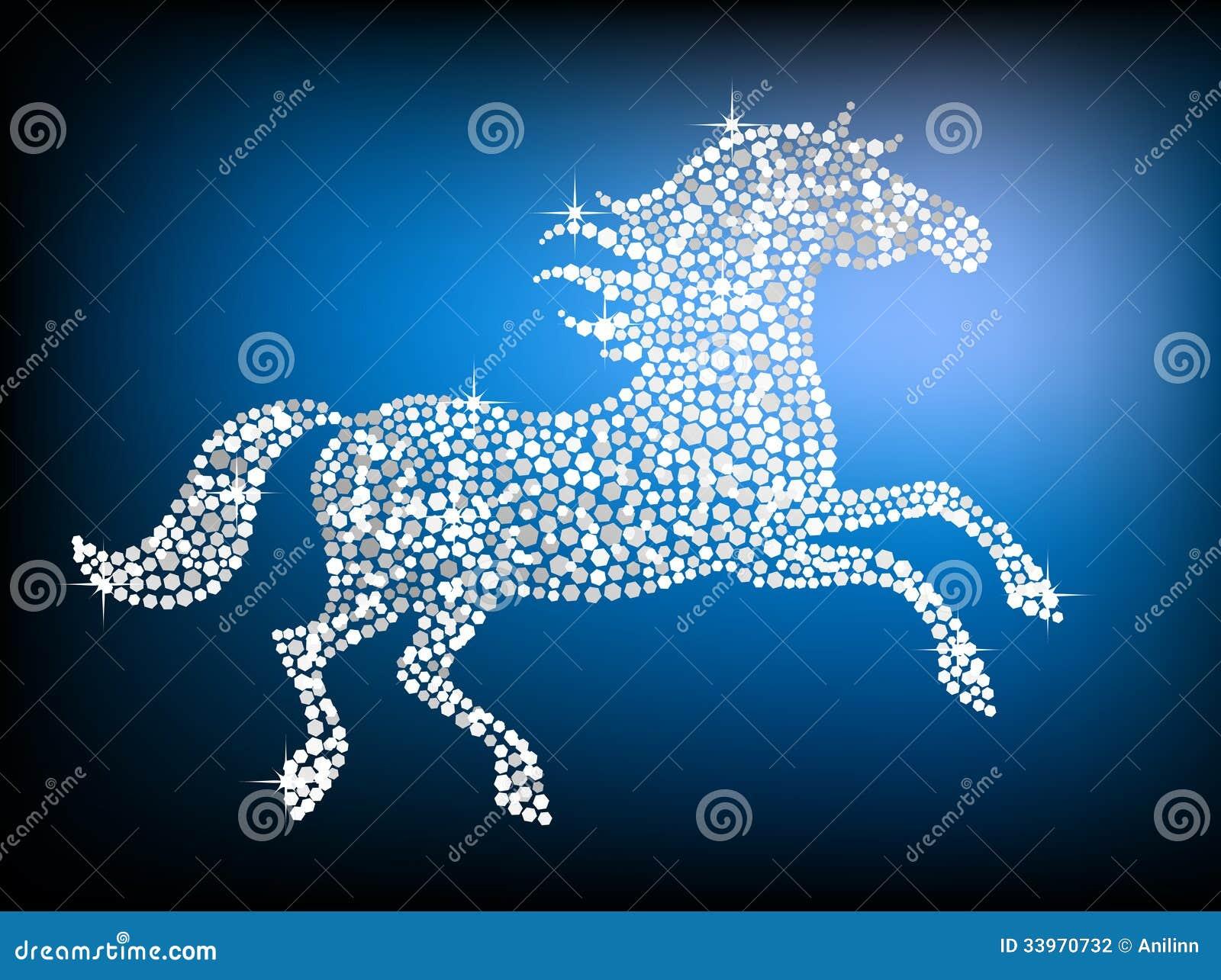 银色宝石马