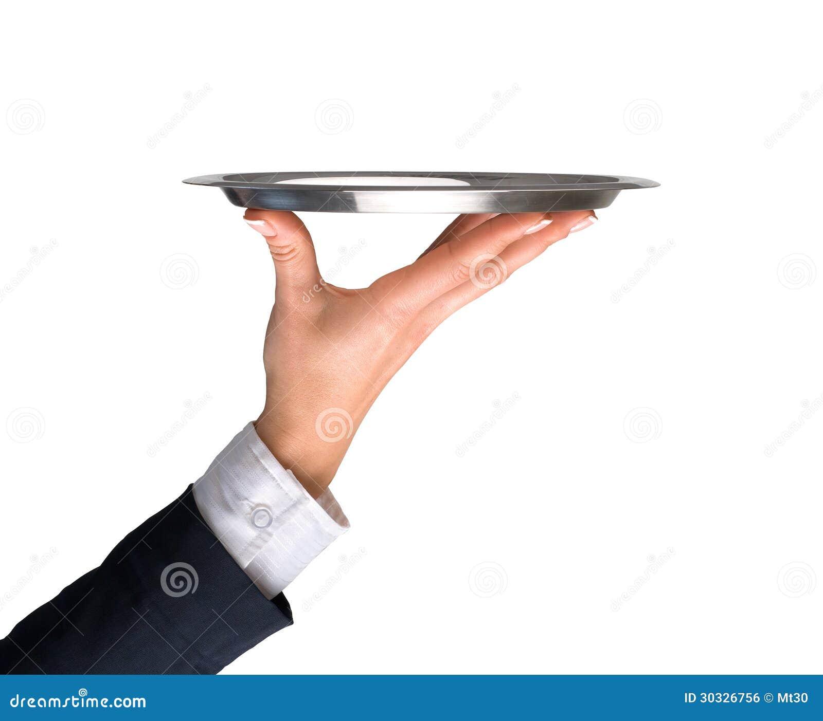 银色盘子用手和胳膊
