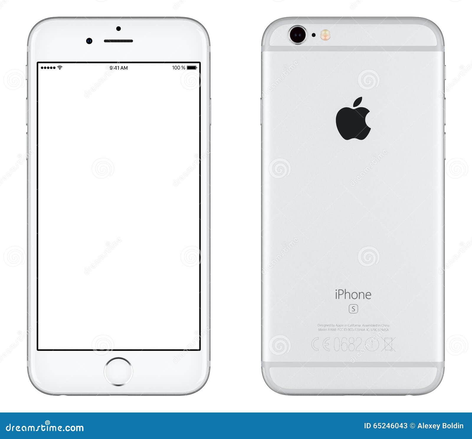 银色苹果计算机iPhone 6s大模型正面图和后部