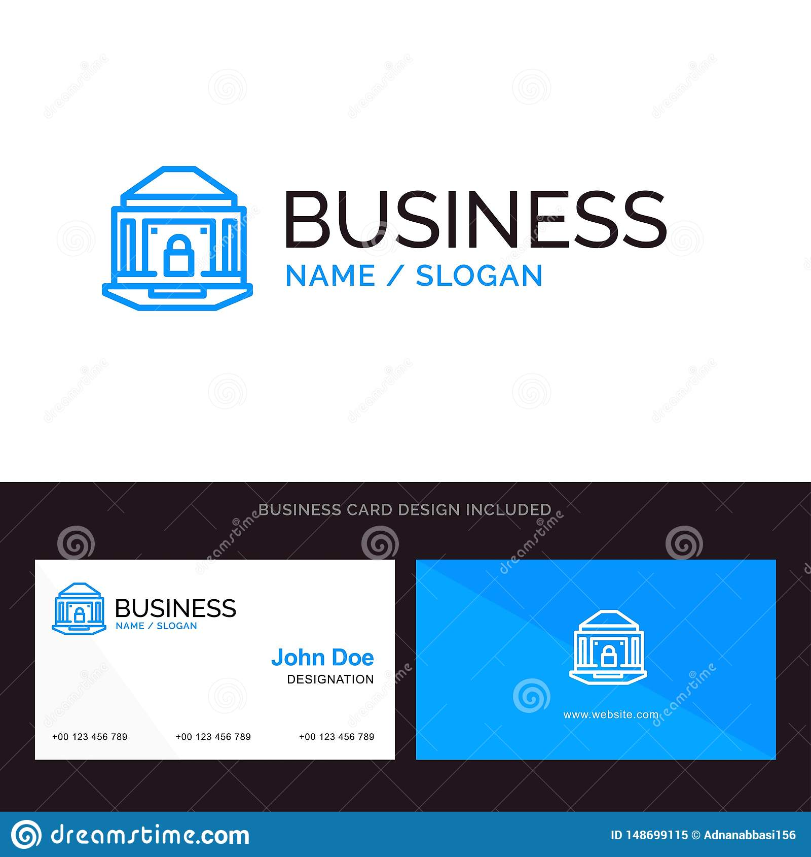 银行、银行业务、互联网、锁、安全蓝色企业商标和名片模板 前面和后面设计