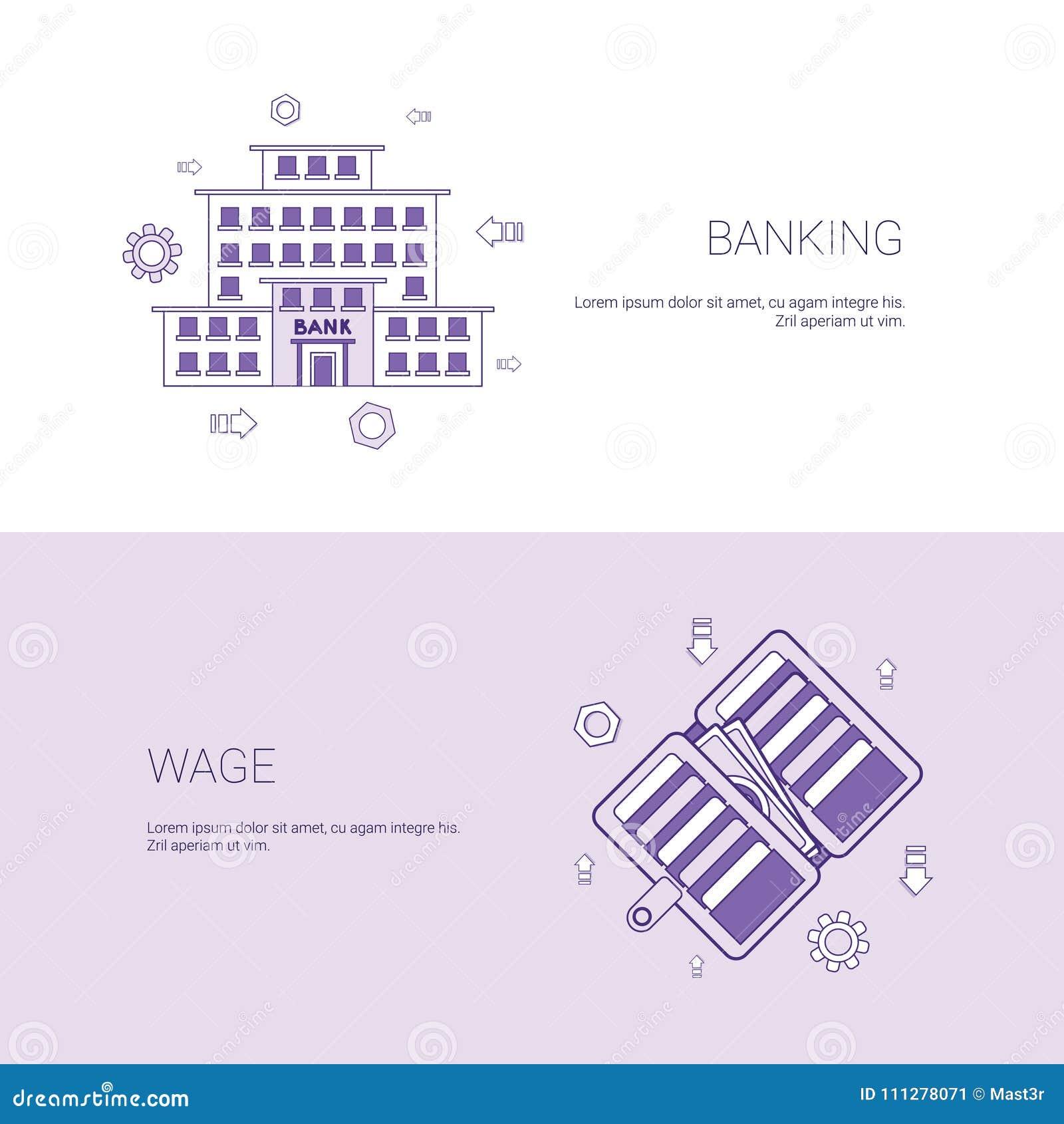银行业务和薪水财务企业概念模板与拷贝空间的网横幅