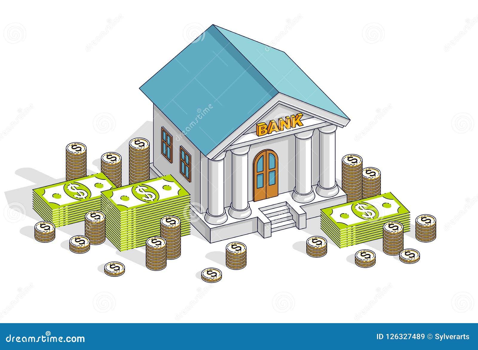 银行业务题材动画片、银行大楼与美元和硬币堆