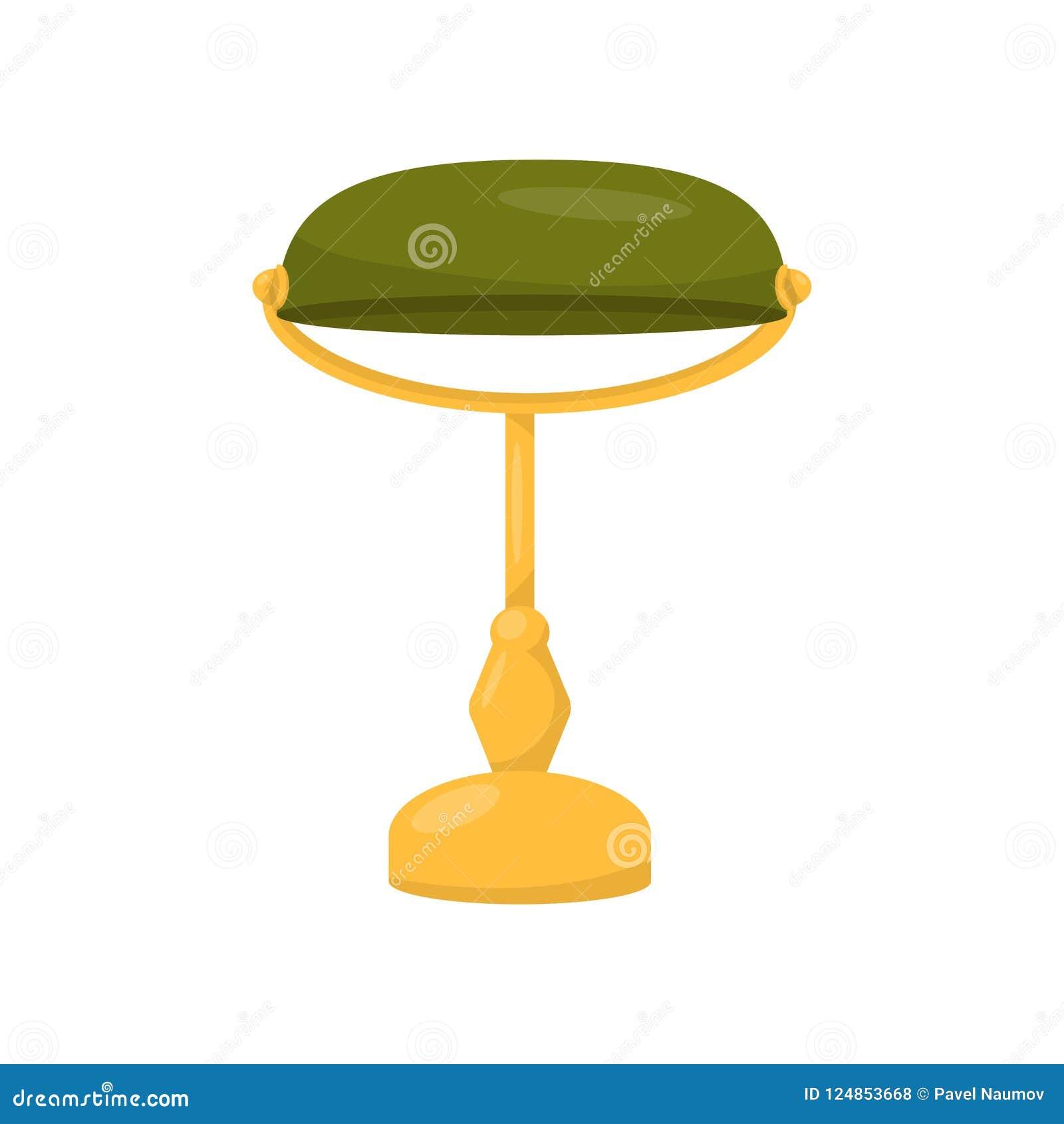 银行家` s灯平的传染媒介象  办公室装饰元素 有黄色黄铜立场和绿色玻璃的电台灯