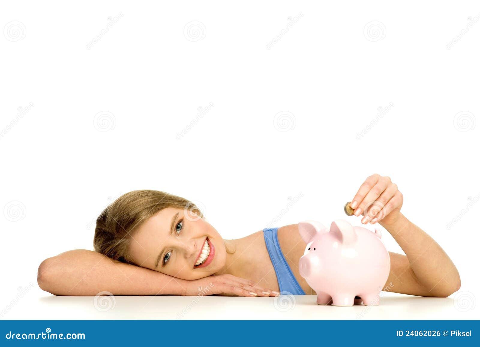 银行票据贪心放置的妇女