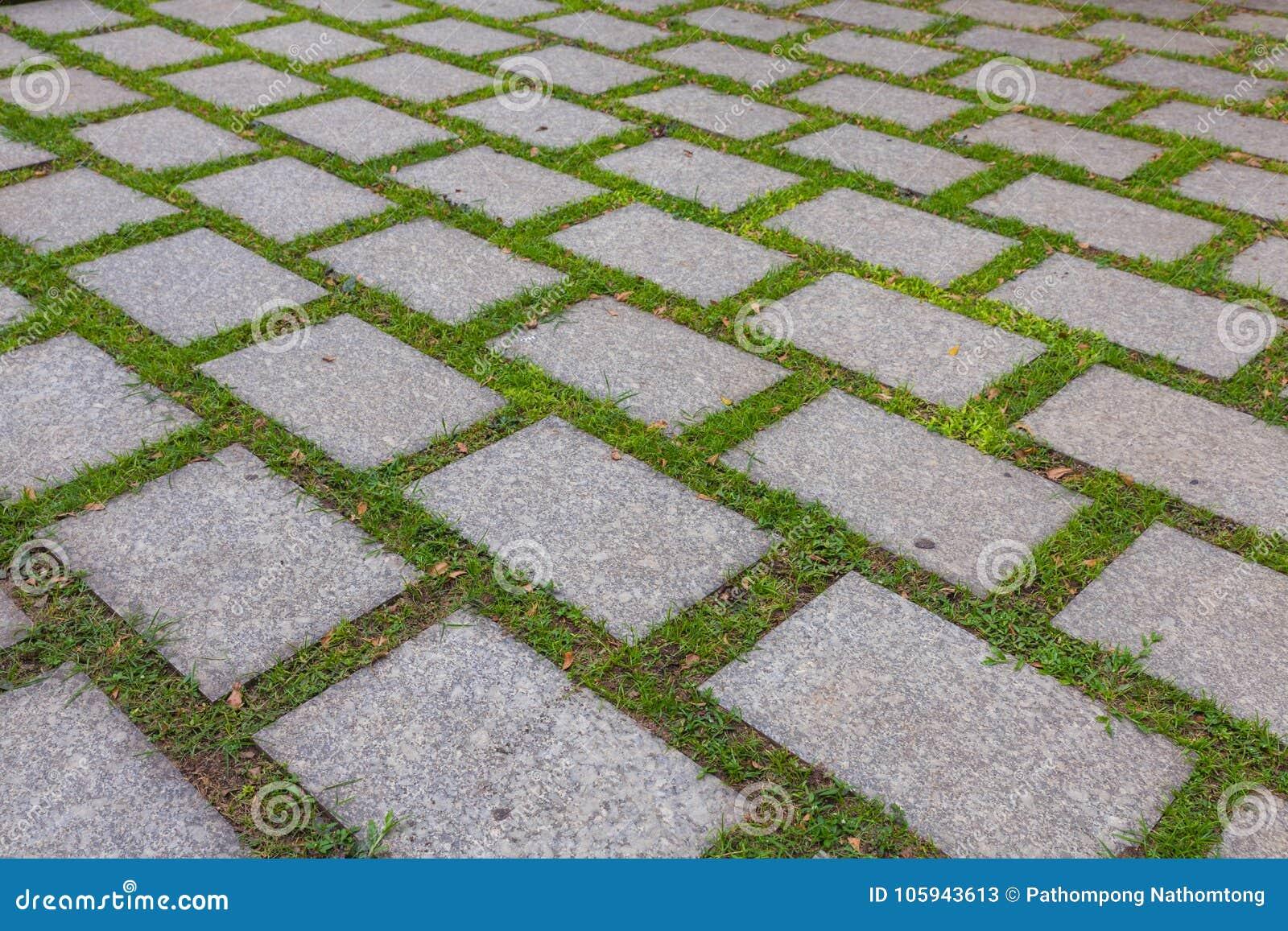 铺石头和绿草
