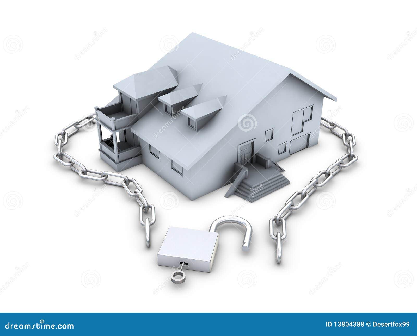链房子关键字被开张的挂锁