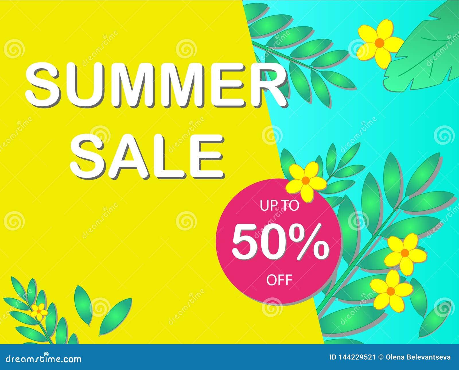 销售与文本'夏天销售'和折扣率的概念横幅