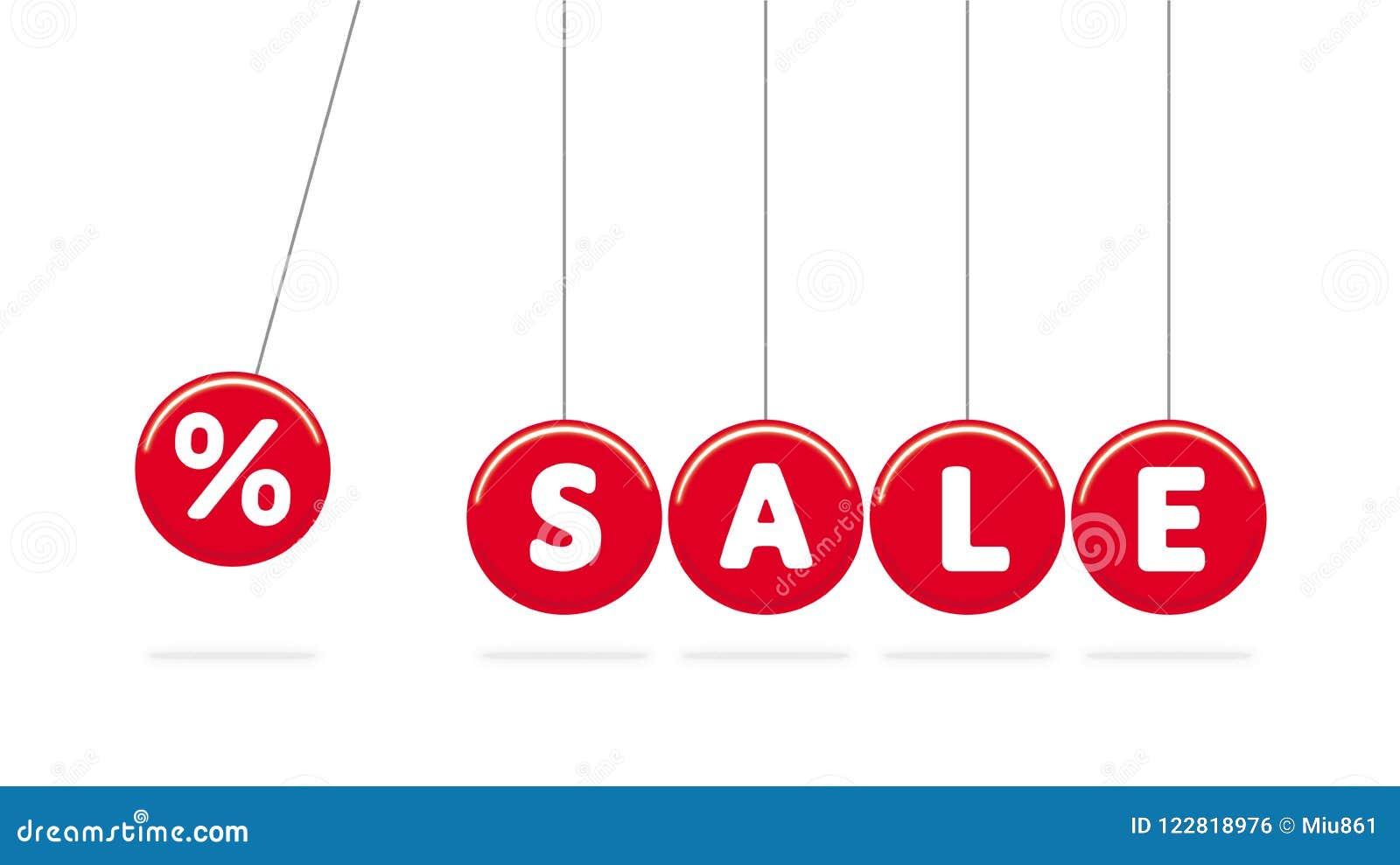 销售额 红色摇摆传染媒介球 摇篮牛顿s 下面阴影 白色文本 奶油被装载的饼干 传染媒介折扣标志