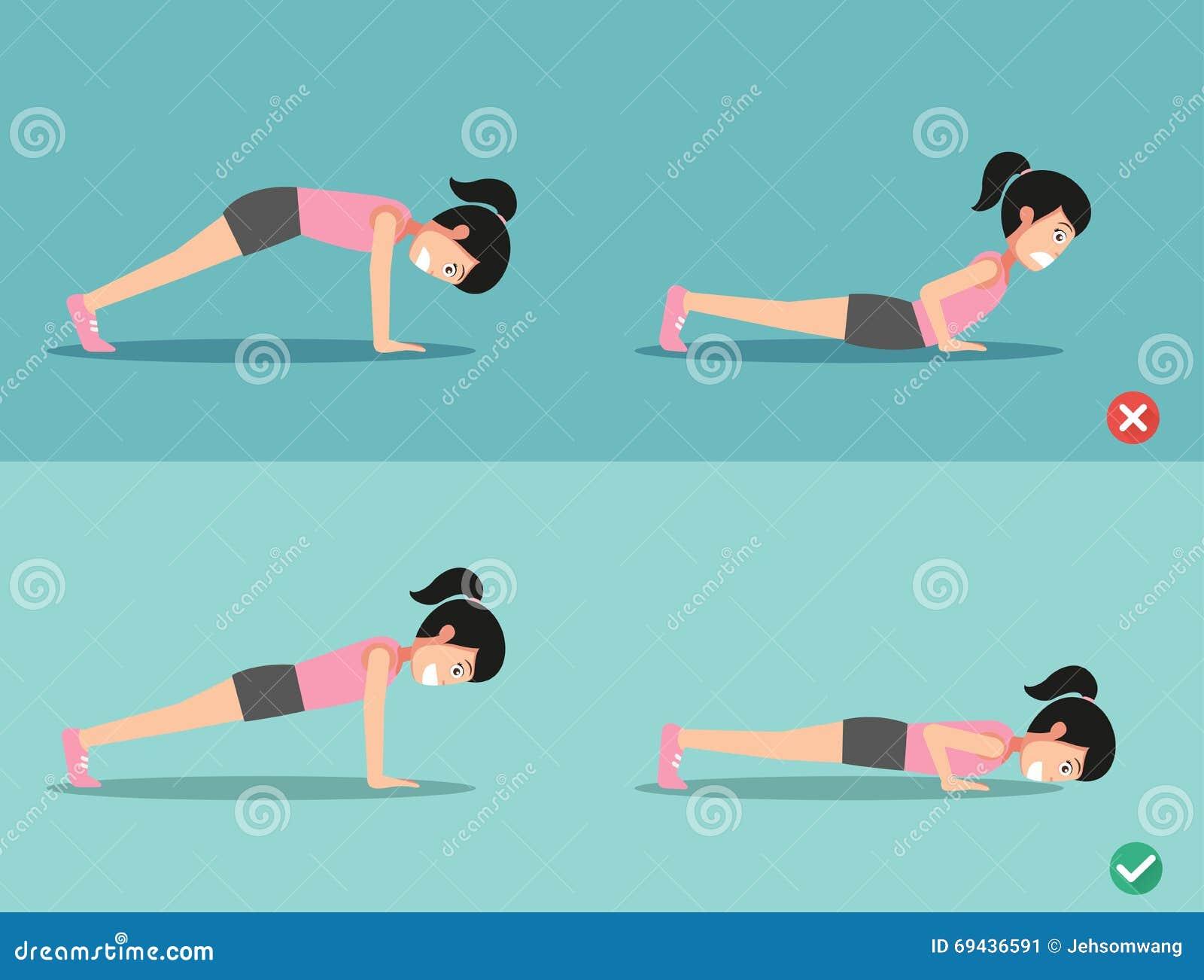 错误和正确的俯卧撑姿势,传染媒介例证.