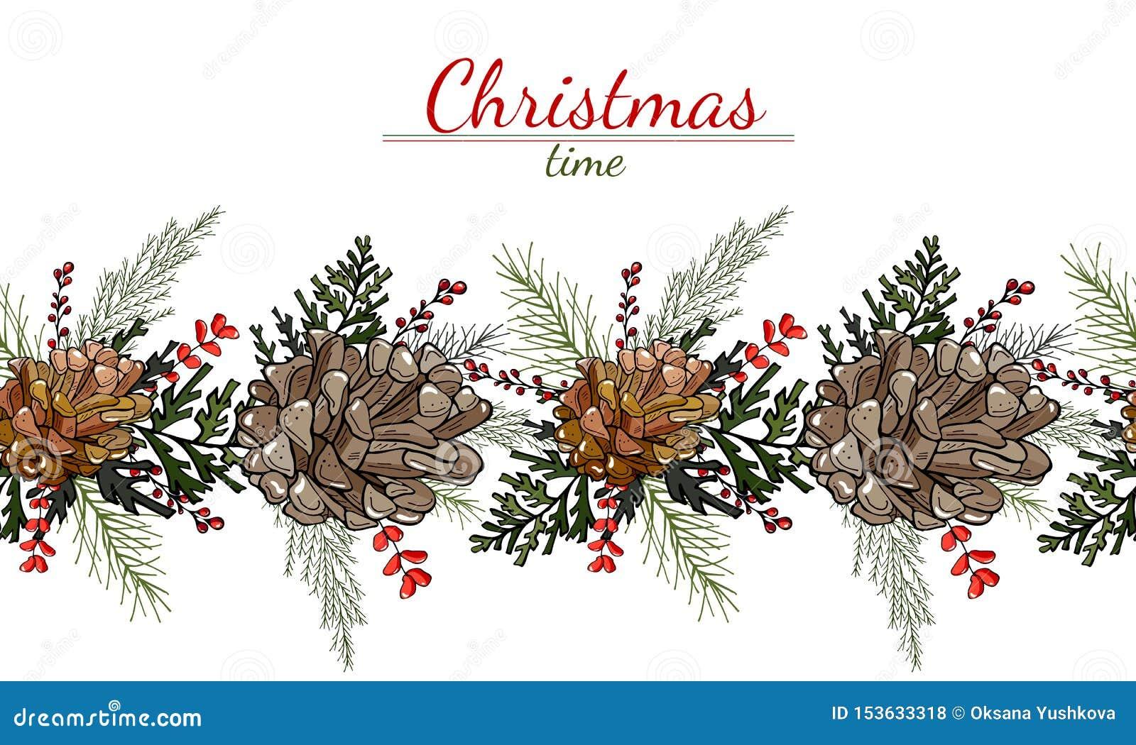 锥体、叶子和莓果的圣诞节样式在白色背景
