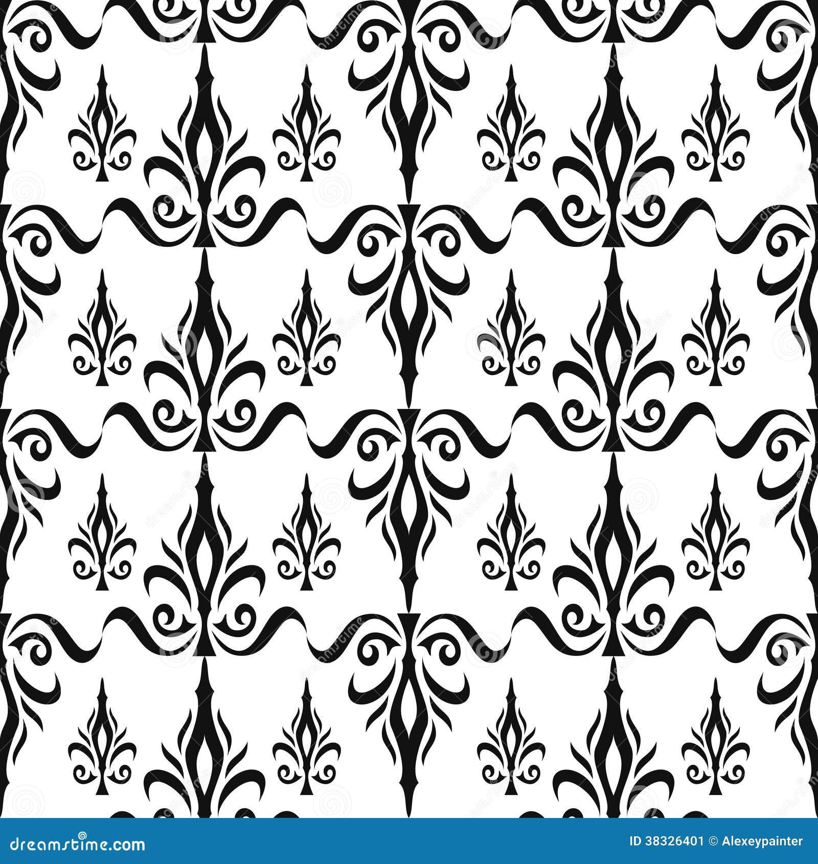锦缎无缝的花卉样式。皇家墙纸。花和冠在黑色在白色背景