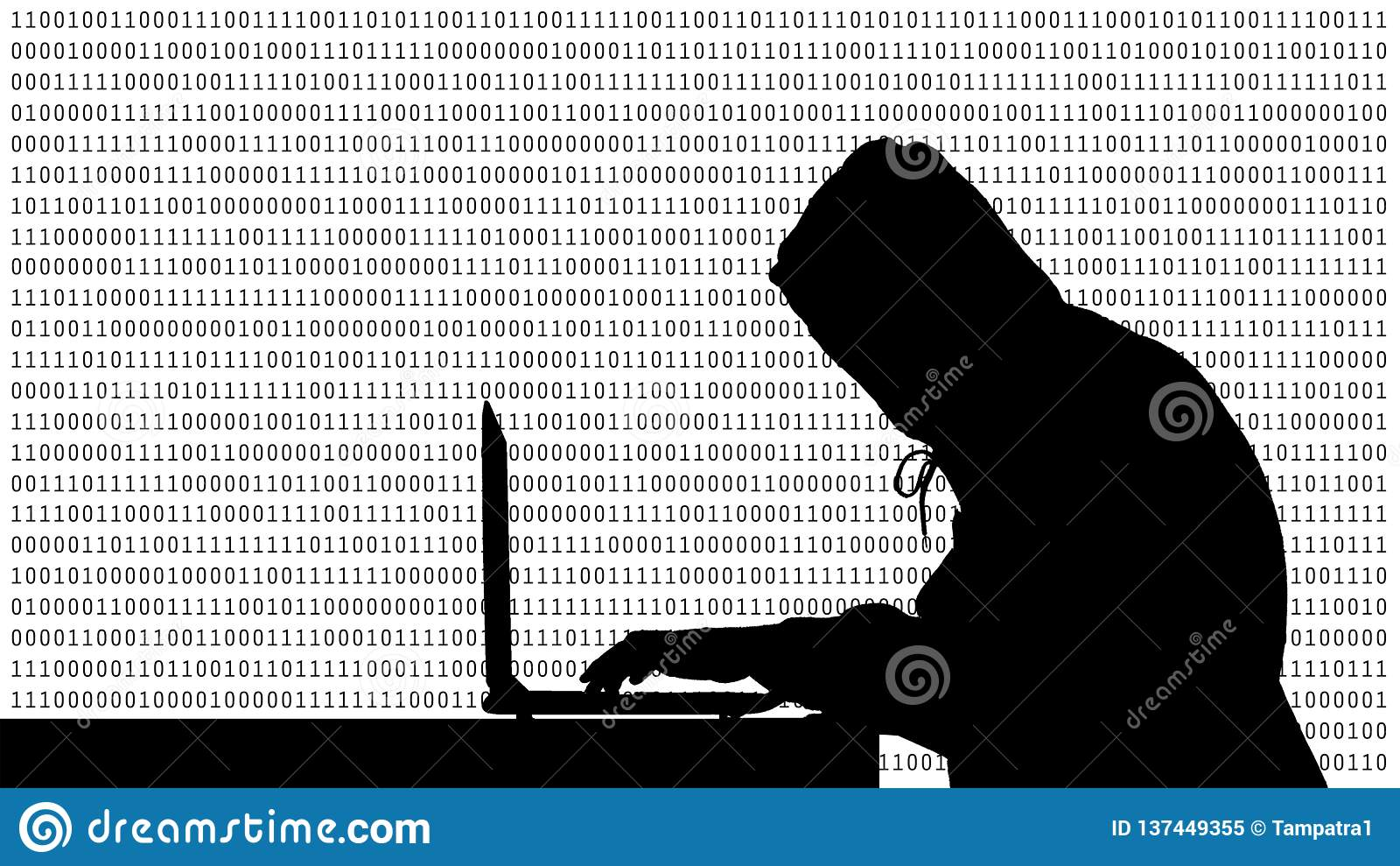 键入在有01的一台在显示器的膝上型计算机或二进制数的黑客在显示器背景矩阵,数字资料代码